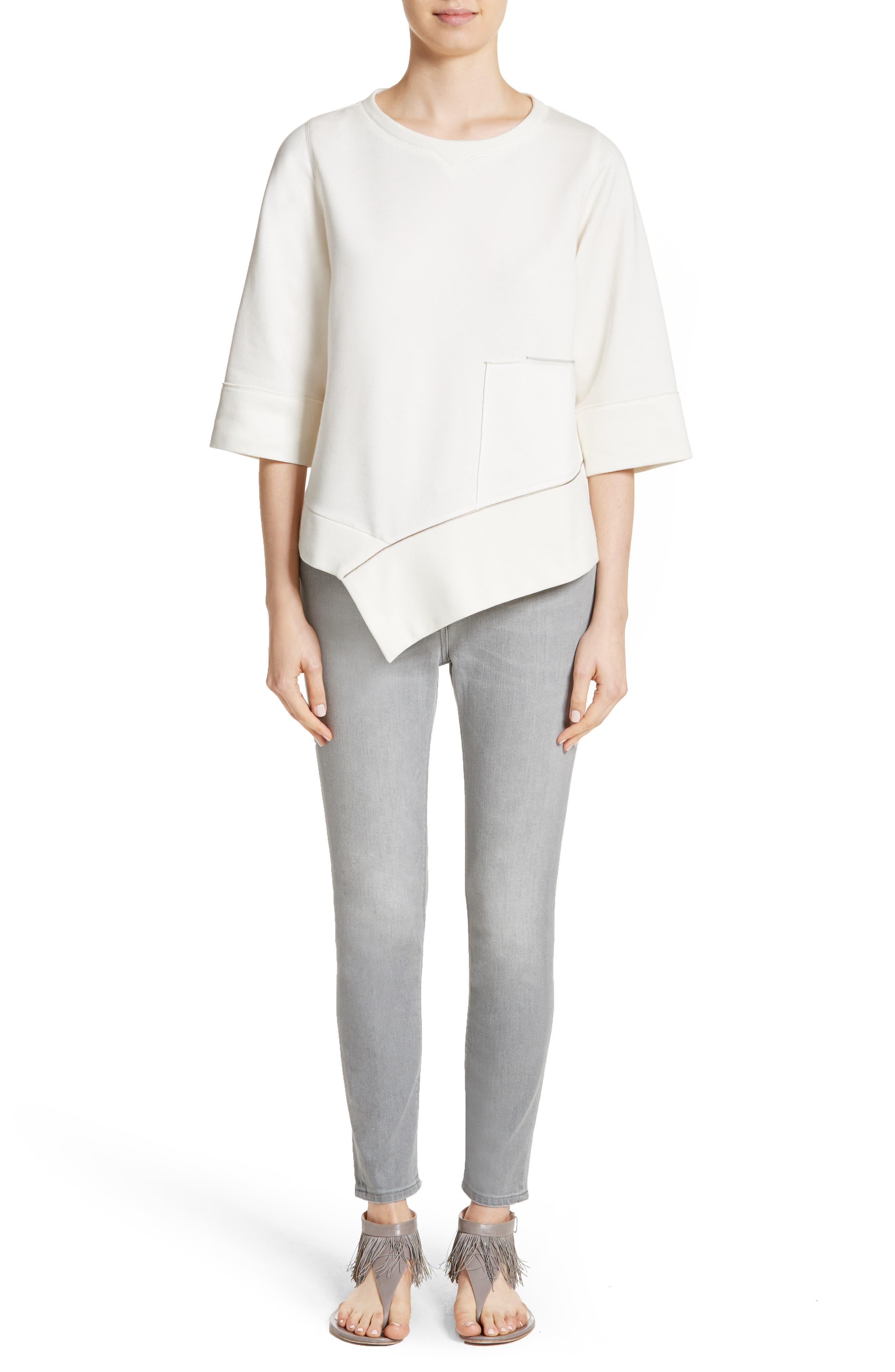 Asymmetrical Cotton Sweatshirt,                             Alternate thumbnail 8, color,                             Ivory