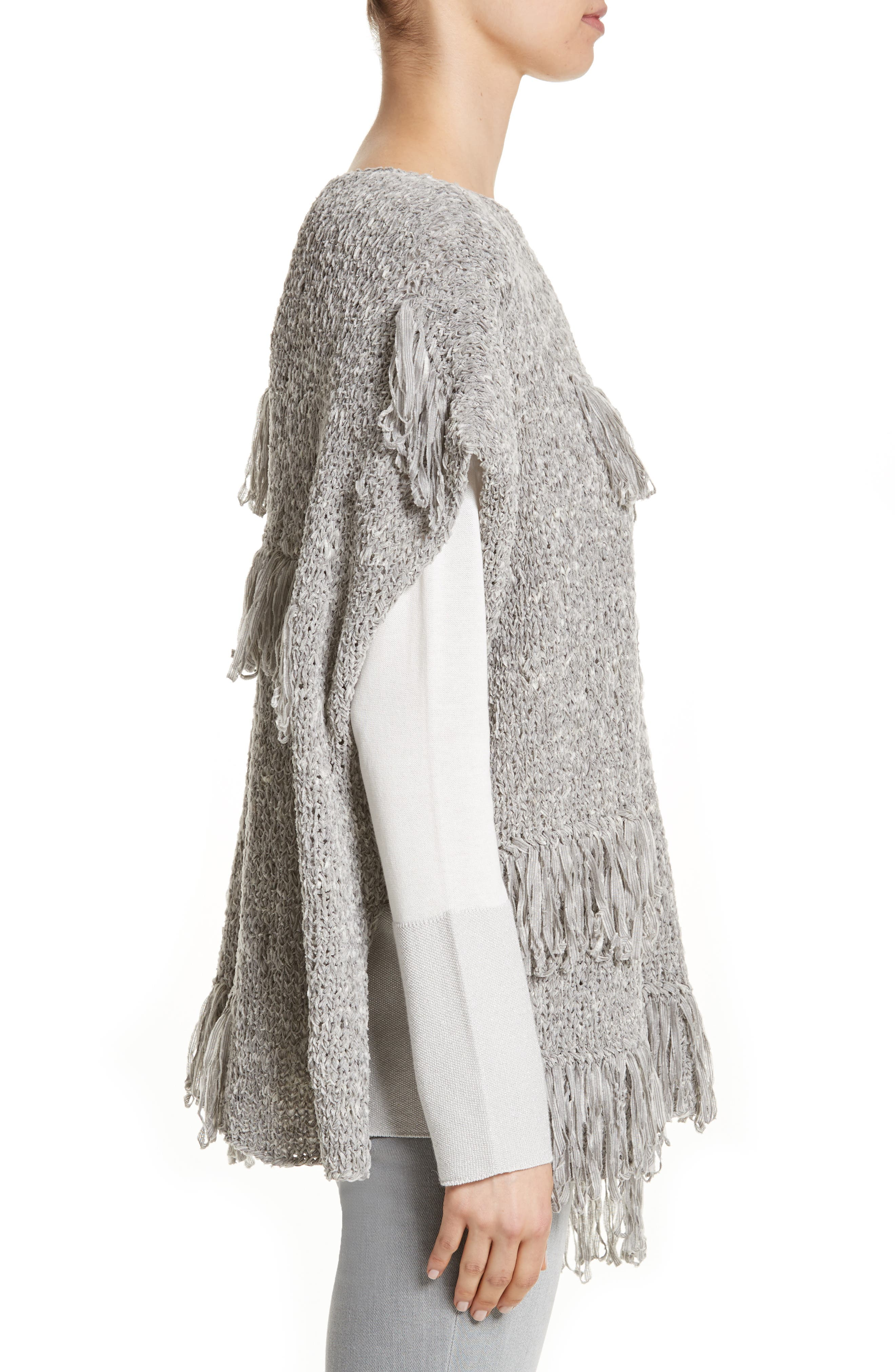Alternate Image 3  - Fabiana Filippi Fringe Chenille Knit Poncho Sweater