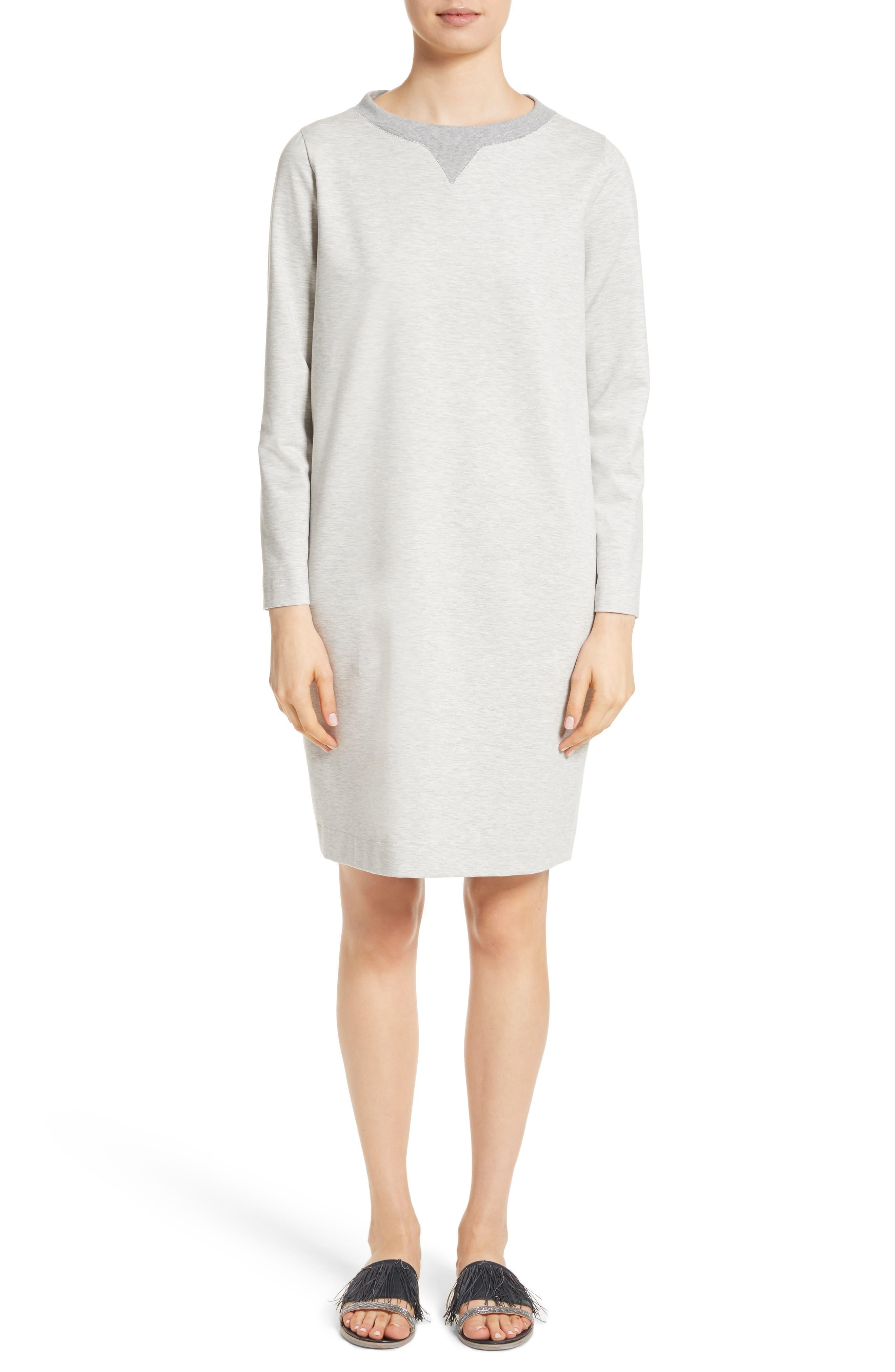 Rodier Jersey Sweatshirt Dress,                         Main,                         color, Pearl Grey