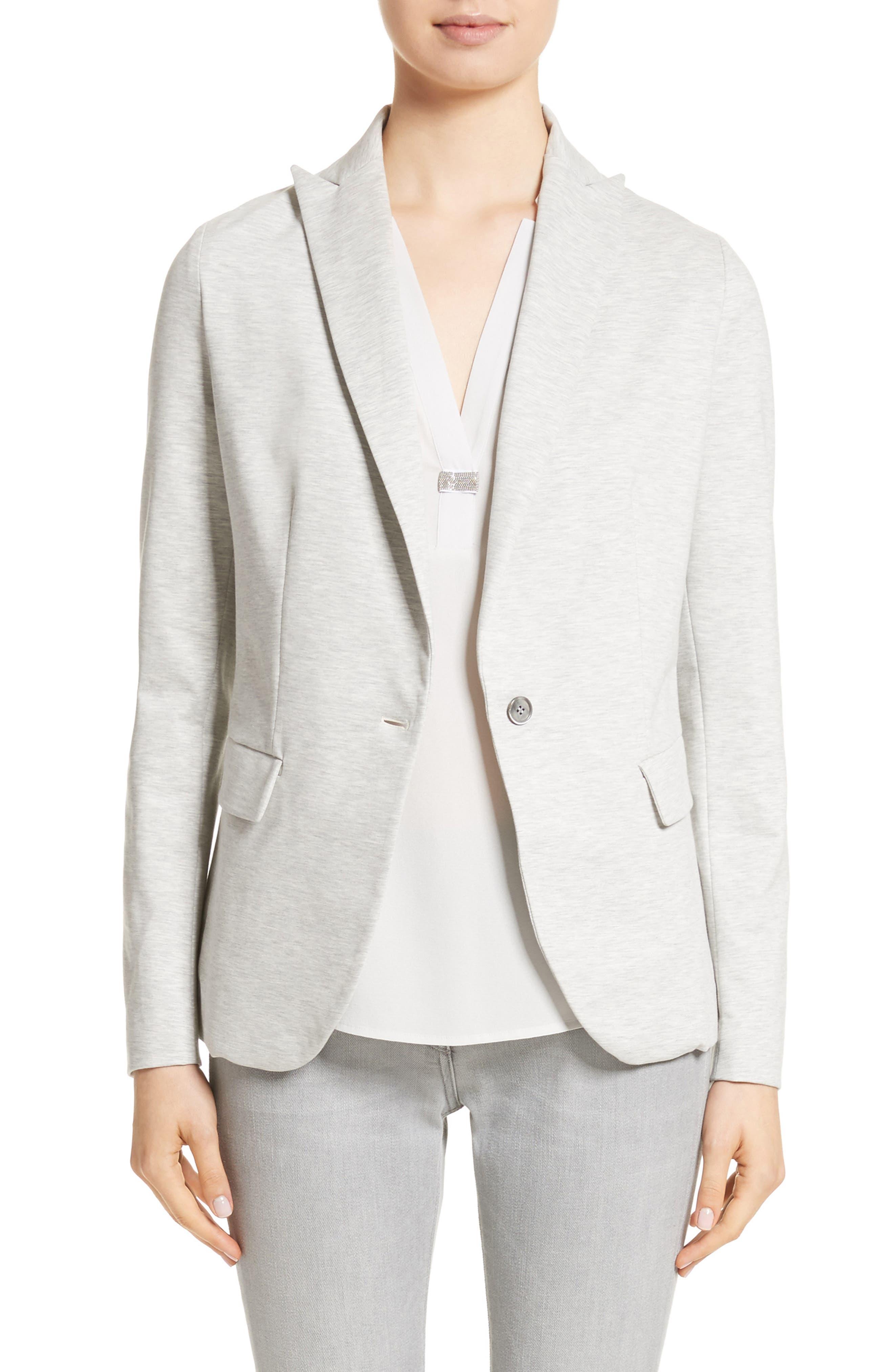 Rodier Jersey Blazer,                             Main thumbnail 1, color,                             Pearl Grey