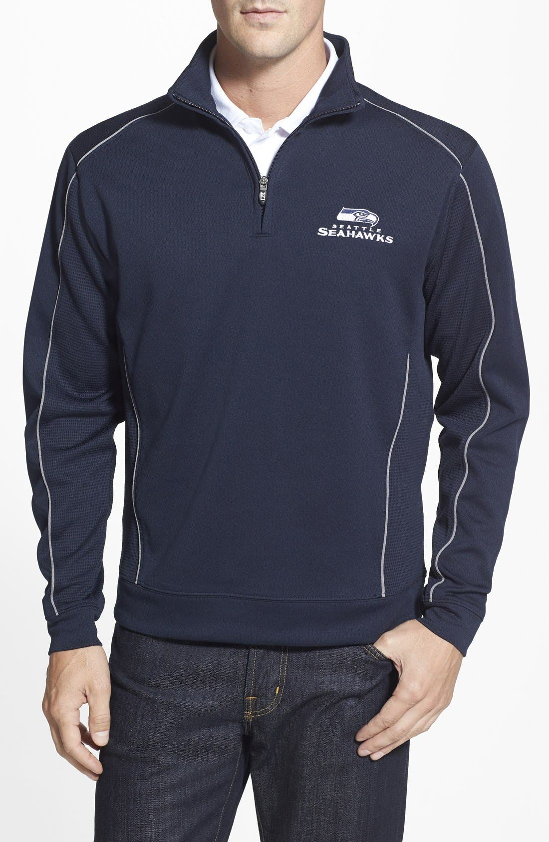 Seattle Seahawks - Edge DryTec Moisture Wicking Half Zip Pullover,                             Main thumbnail 1, color,                             Navy Blue