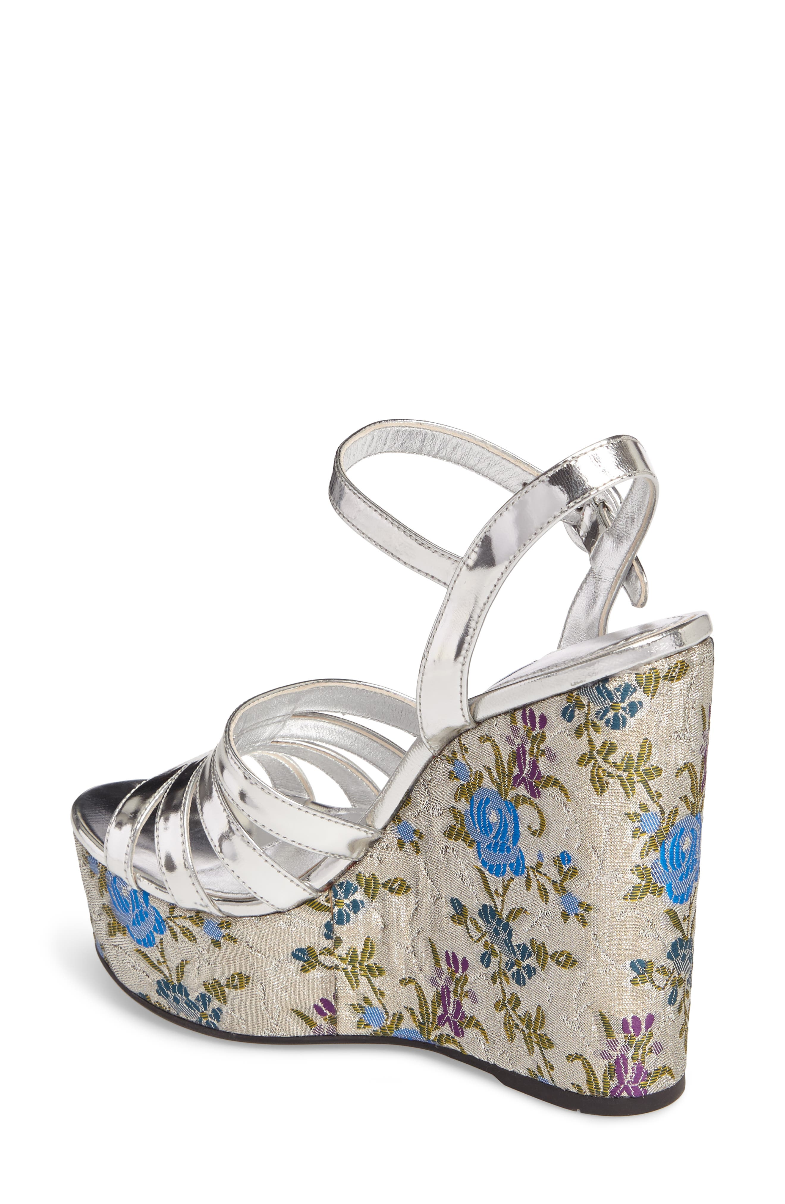 Floral Wedge Platform Sandals,                             Alternate thumbnail 2, color,                             Silver/ Blue