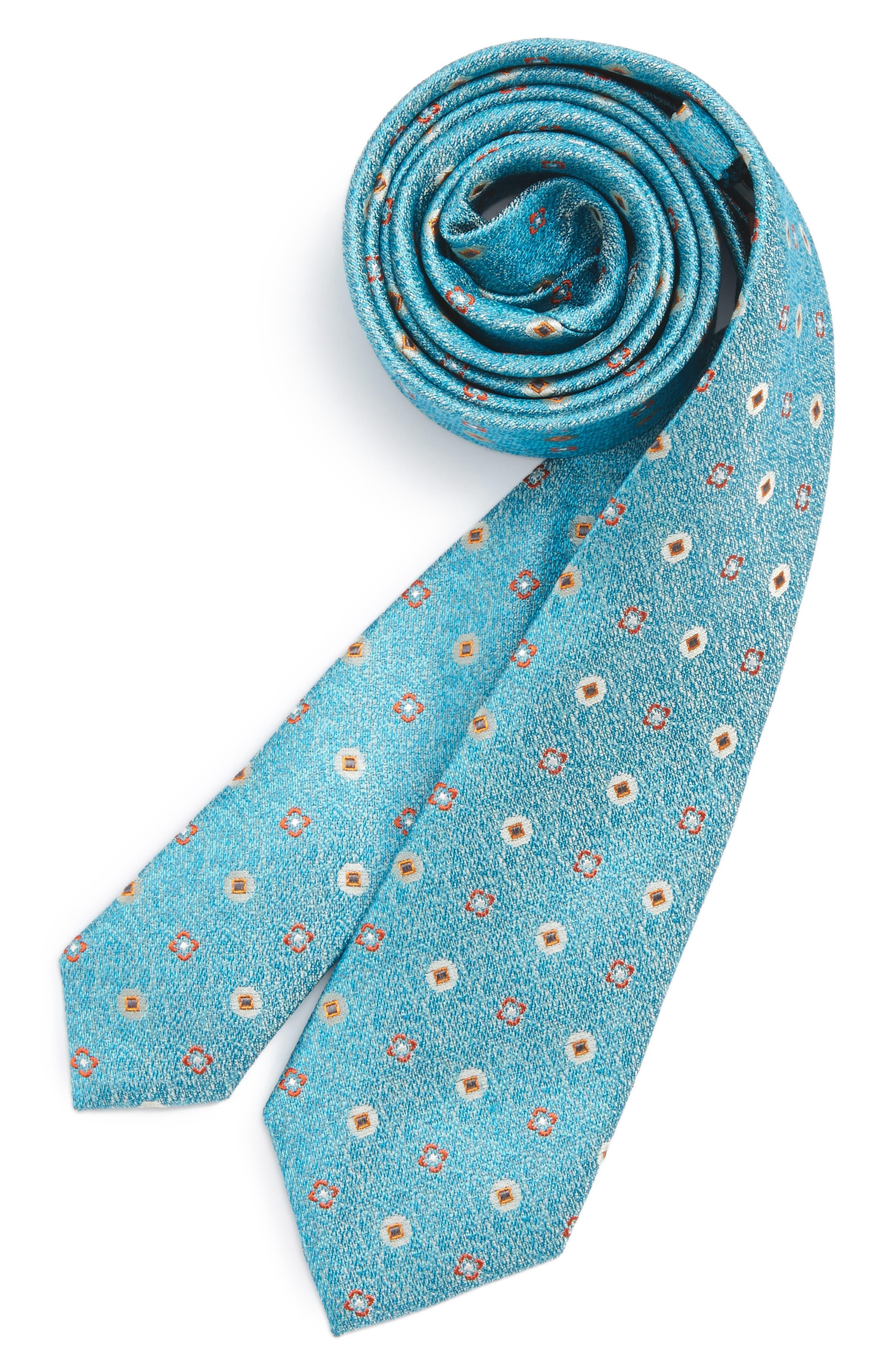 Medallion Silk Tie,                         Main,                         color, Aqua
