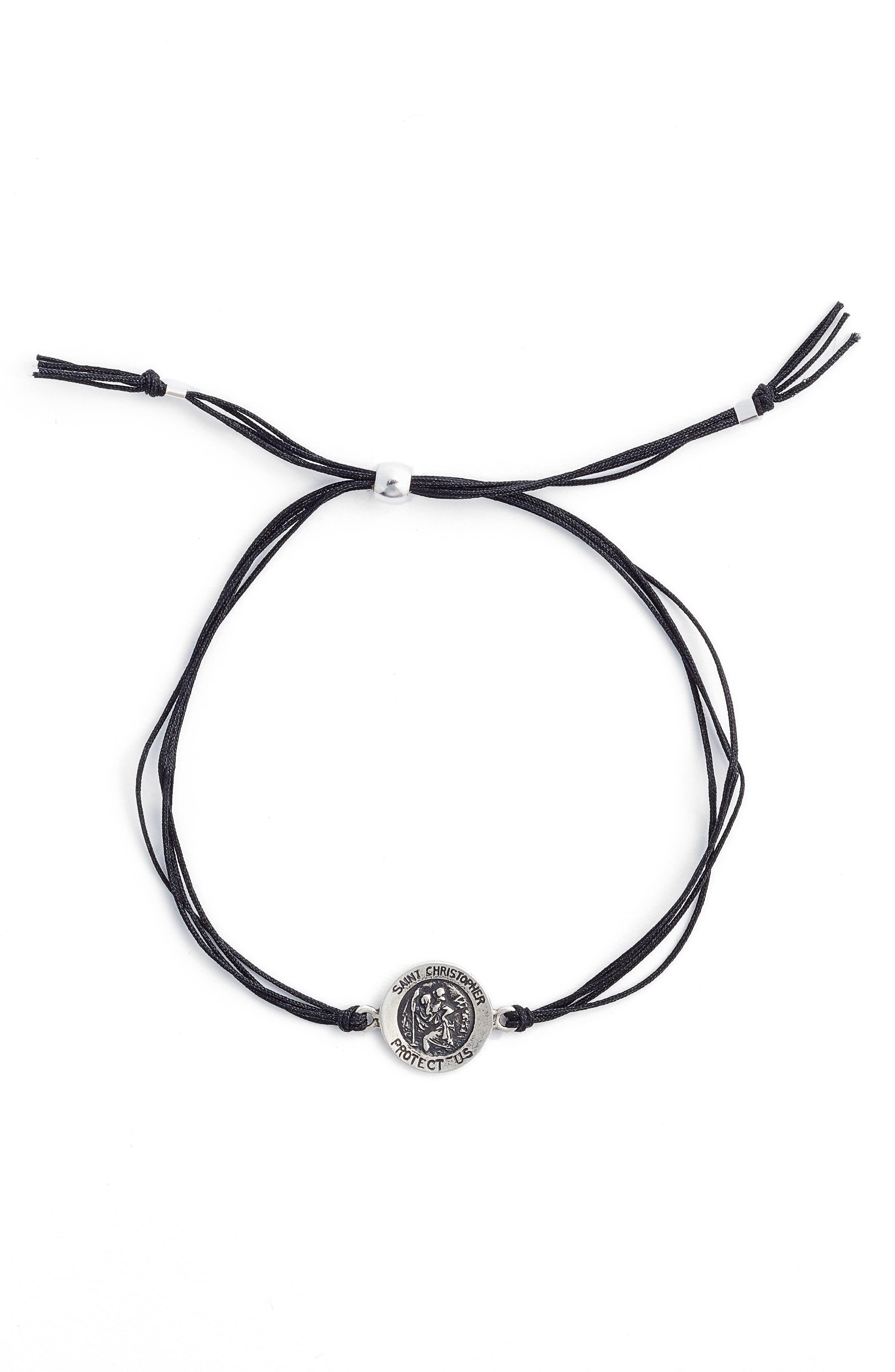 Saint Christopher Pull Bracelet,                             Alternate thumbnail 2, color,                             Black/ Silver