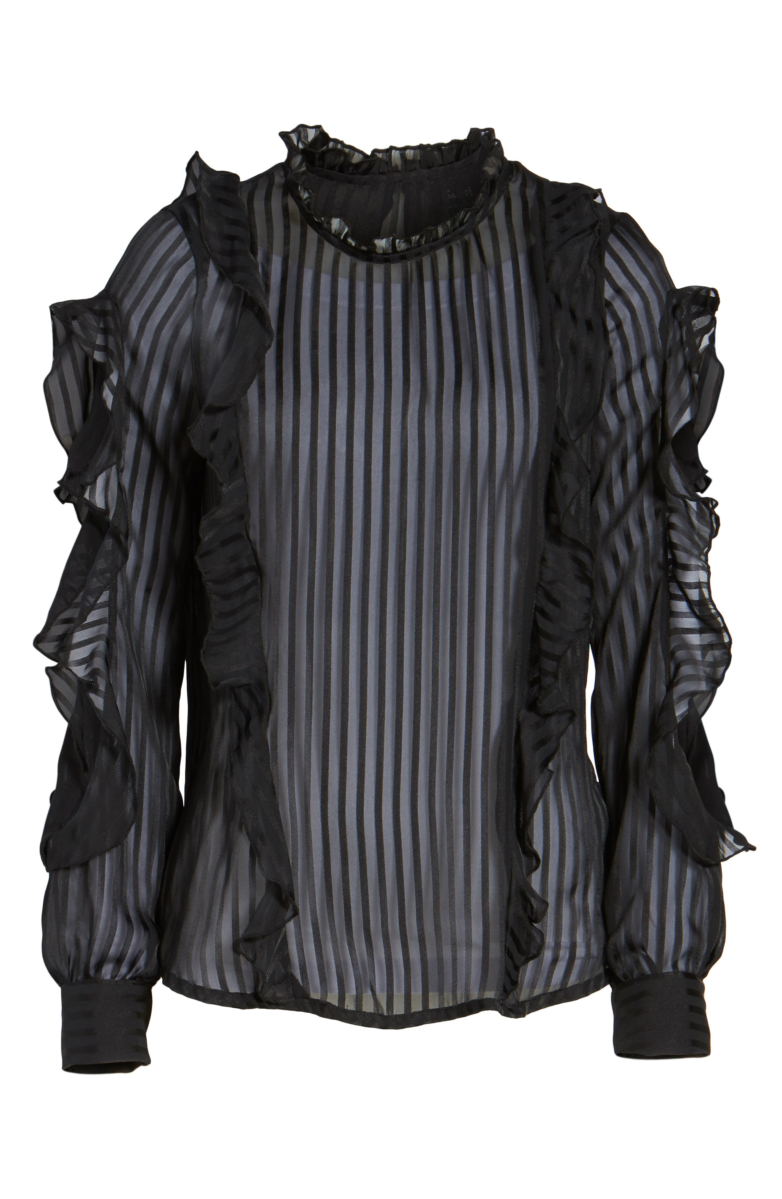 Midnight Sheer Blouse,                             Alternate thumbnail 7, color,                             Black