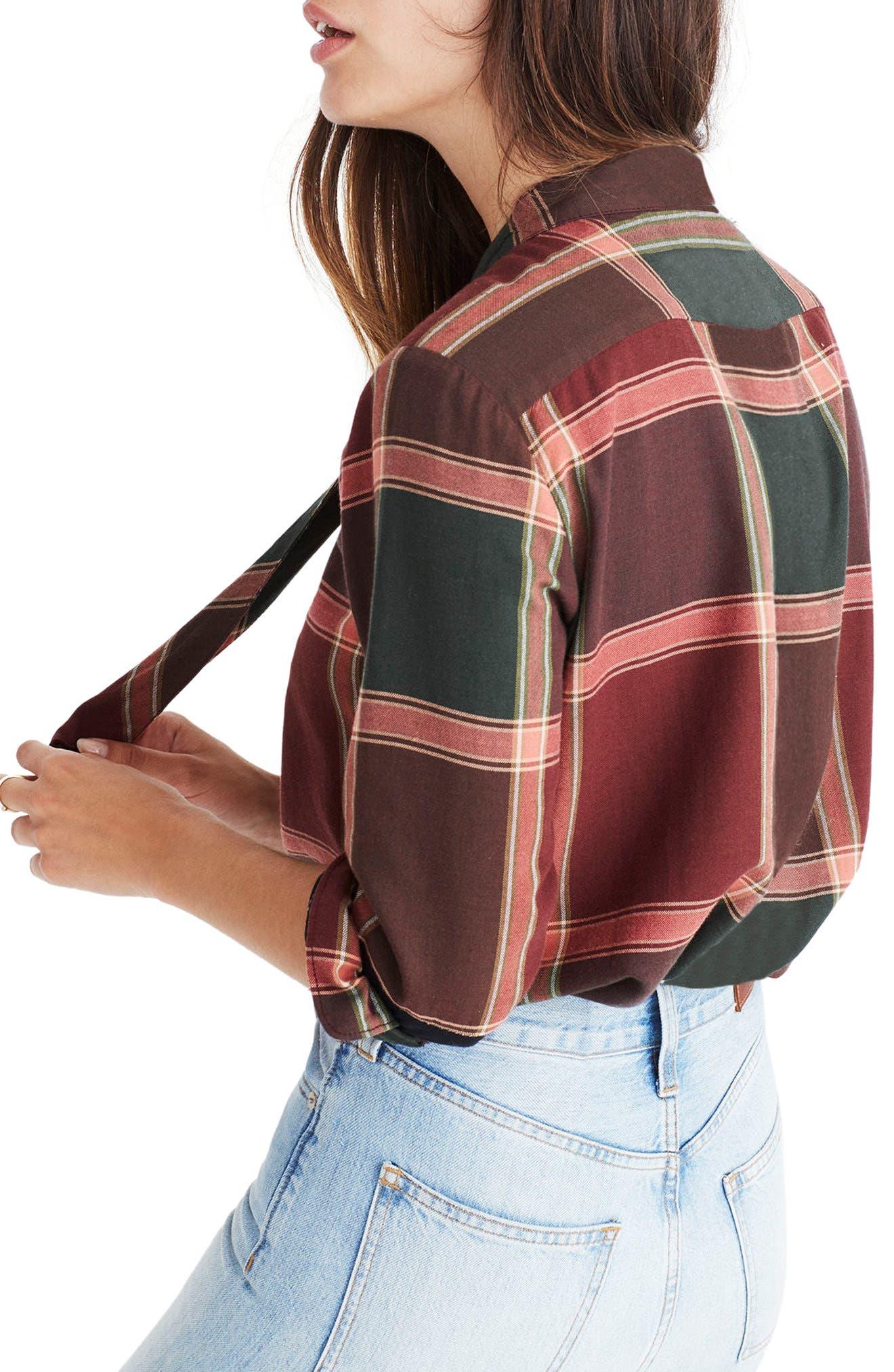 Plaid Tie Neck Shirt,                             Alternate thumbnail 2, color,                             Cherry Wood