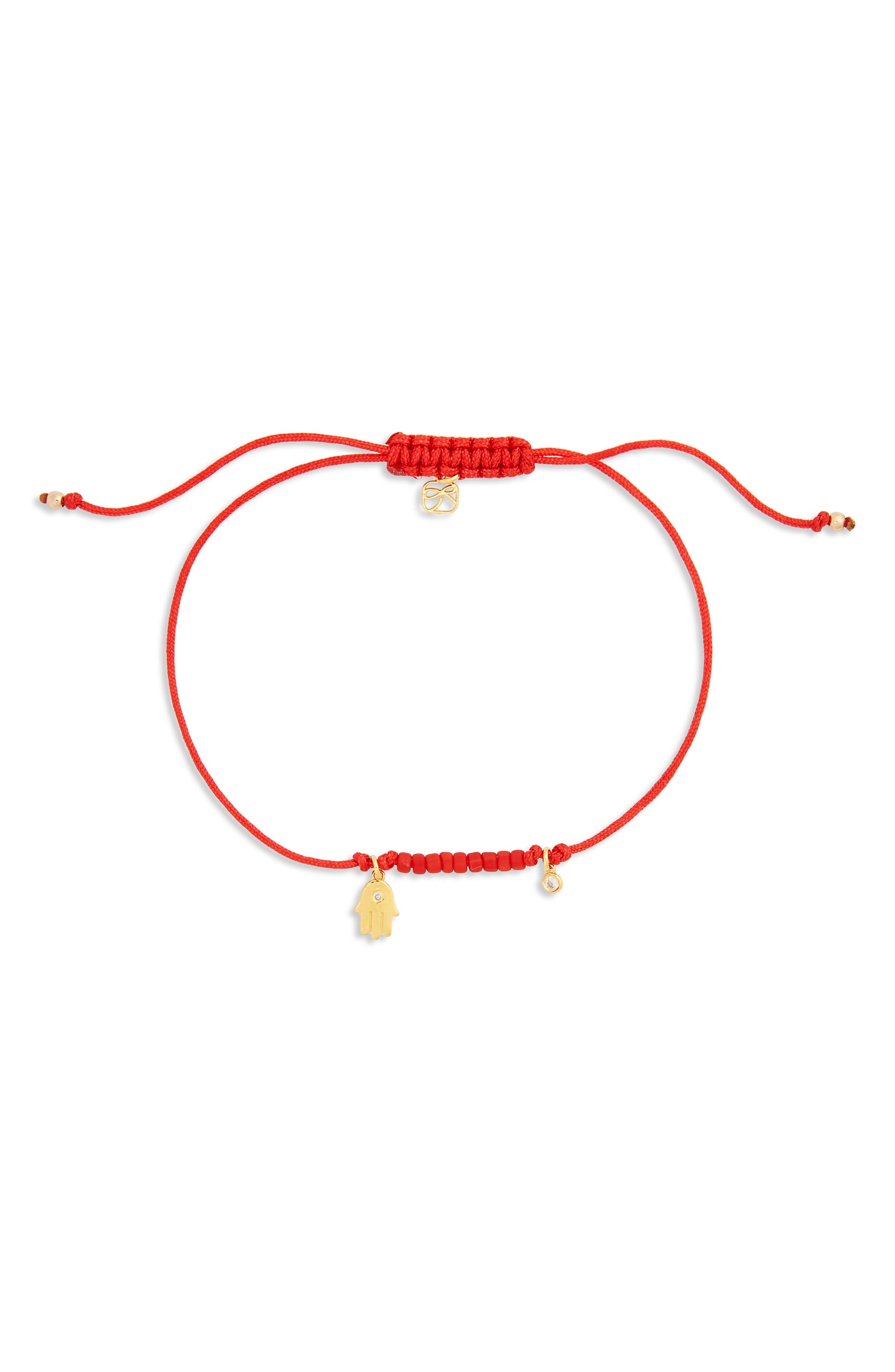 Hamsa Chord Diamond Bracelet,                         Main,                         color, Gold/ Red