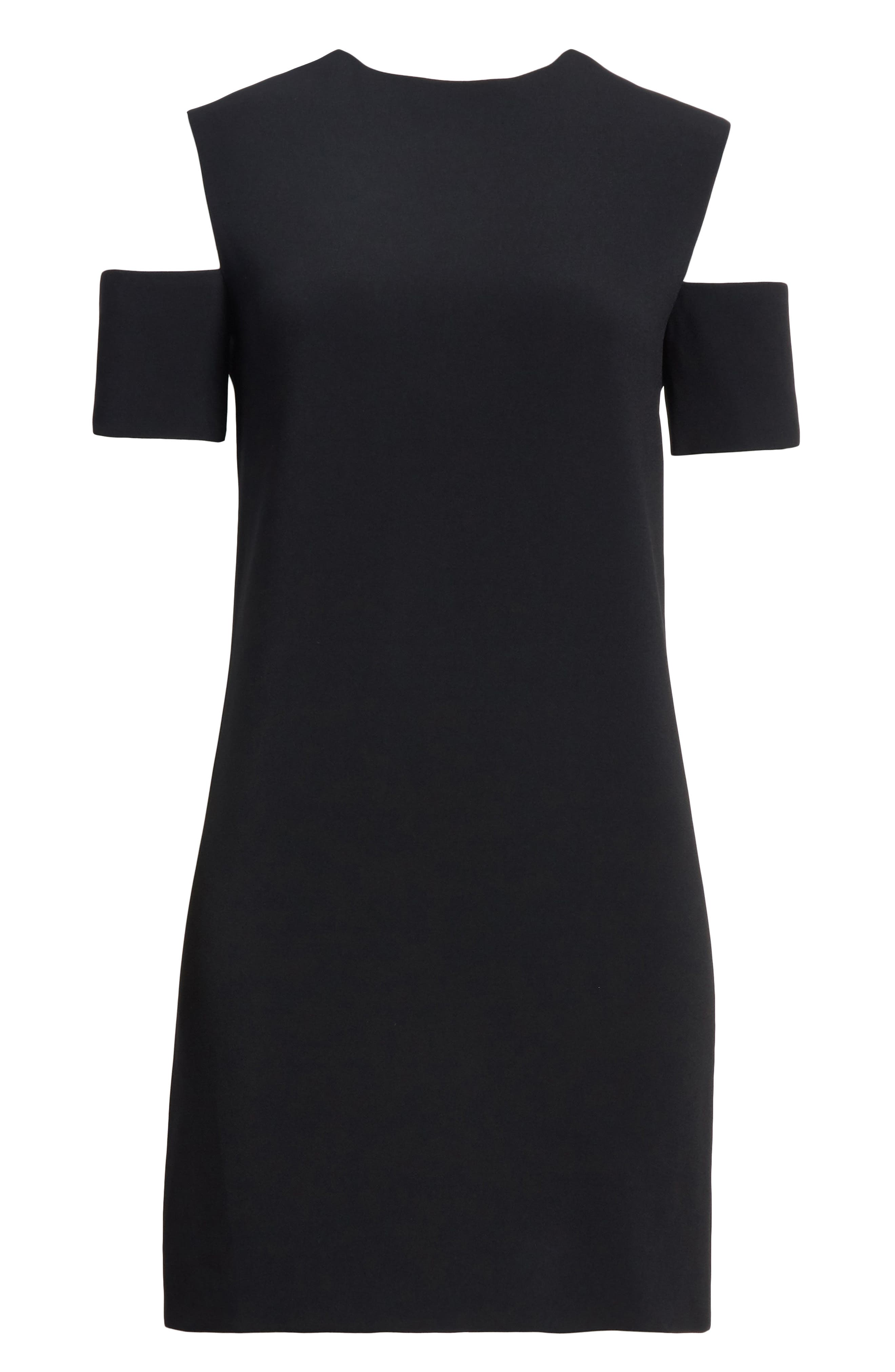 Cold Shoulder Shift Dress,                             Alternate thumbnail 6, color,                             Black