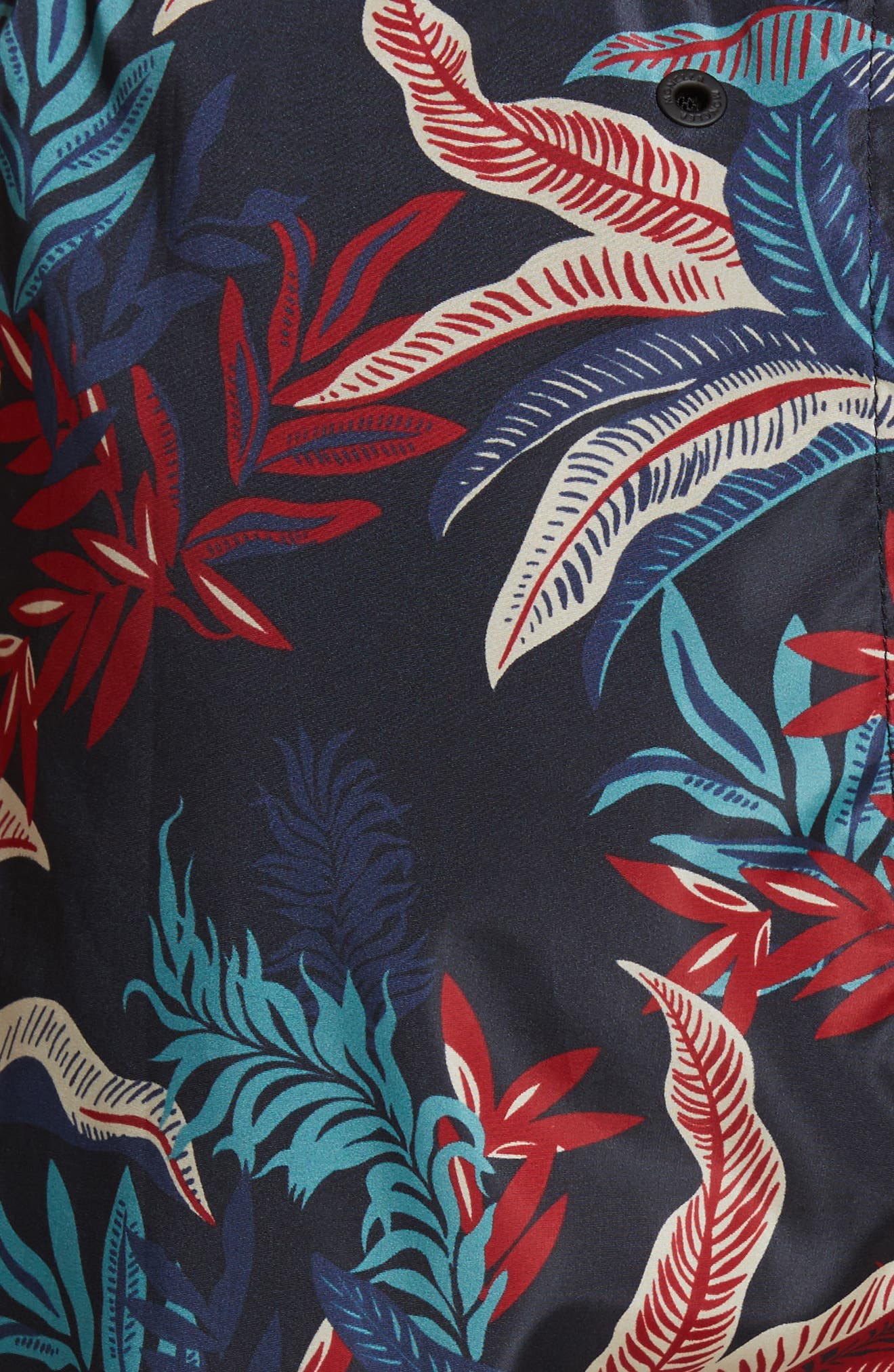 Floral Print Swim Trunks,                             Alternate thumbnail 5, color,                             Dark Blue