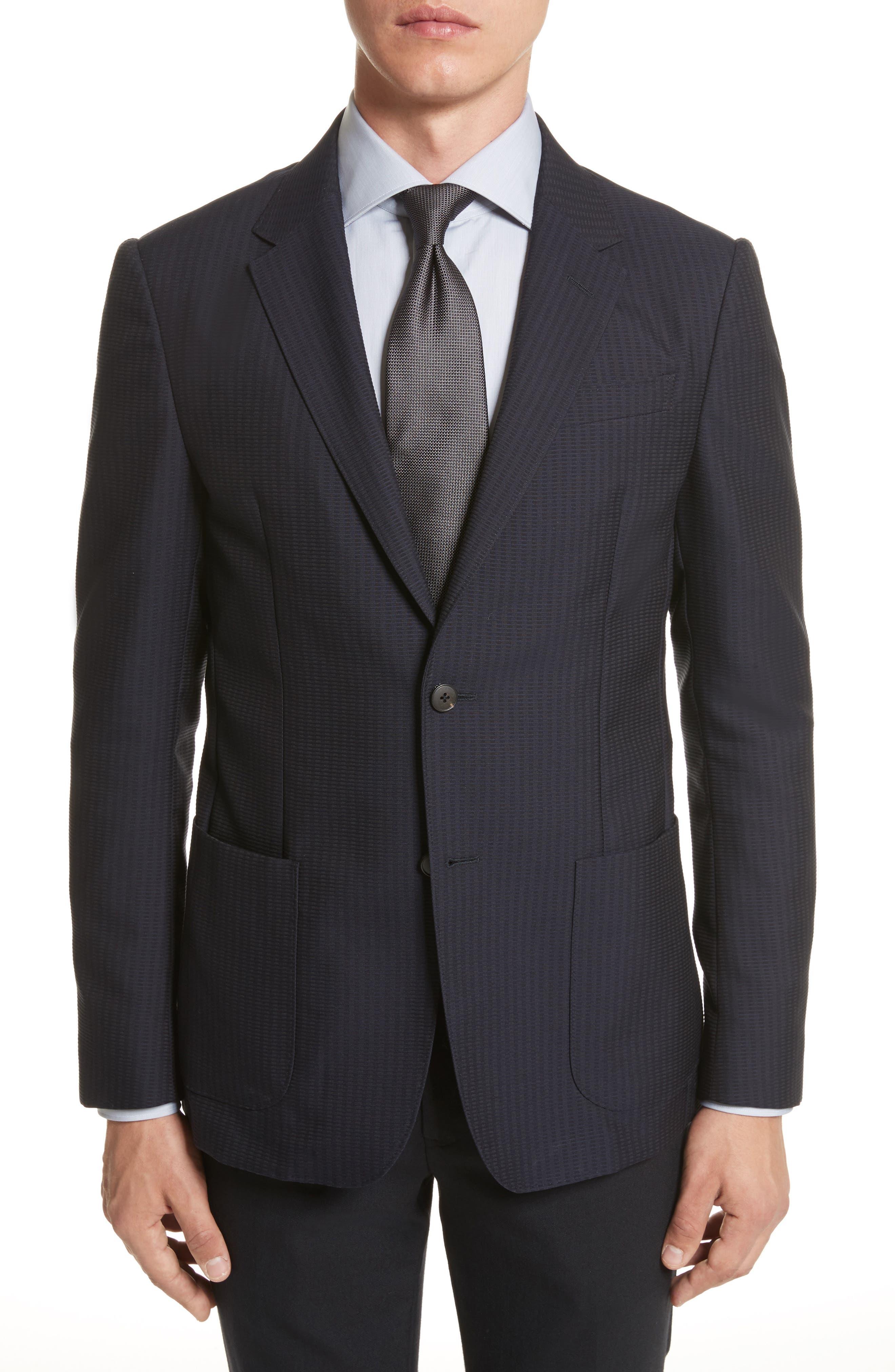 Classic Fit Stripe Cotton Blend Sport Coat,                         Main,                         color, Navy Check