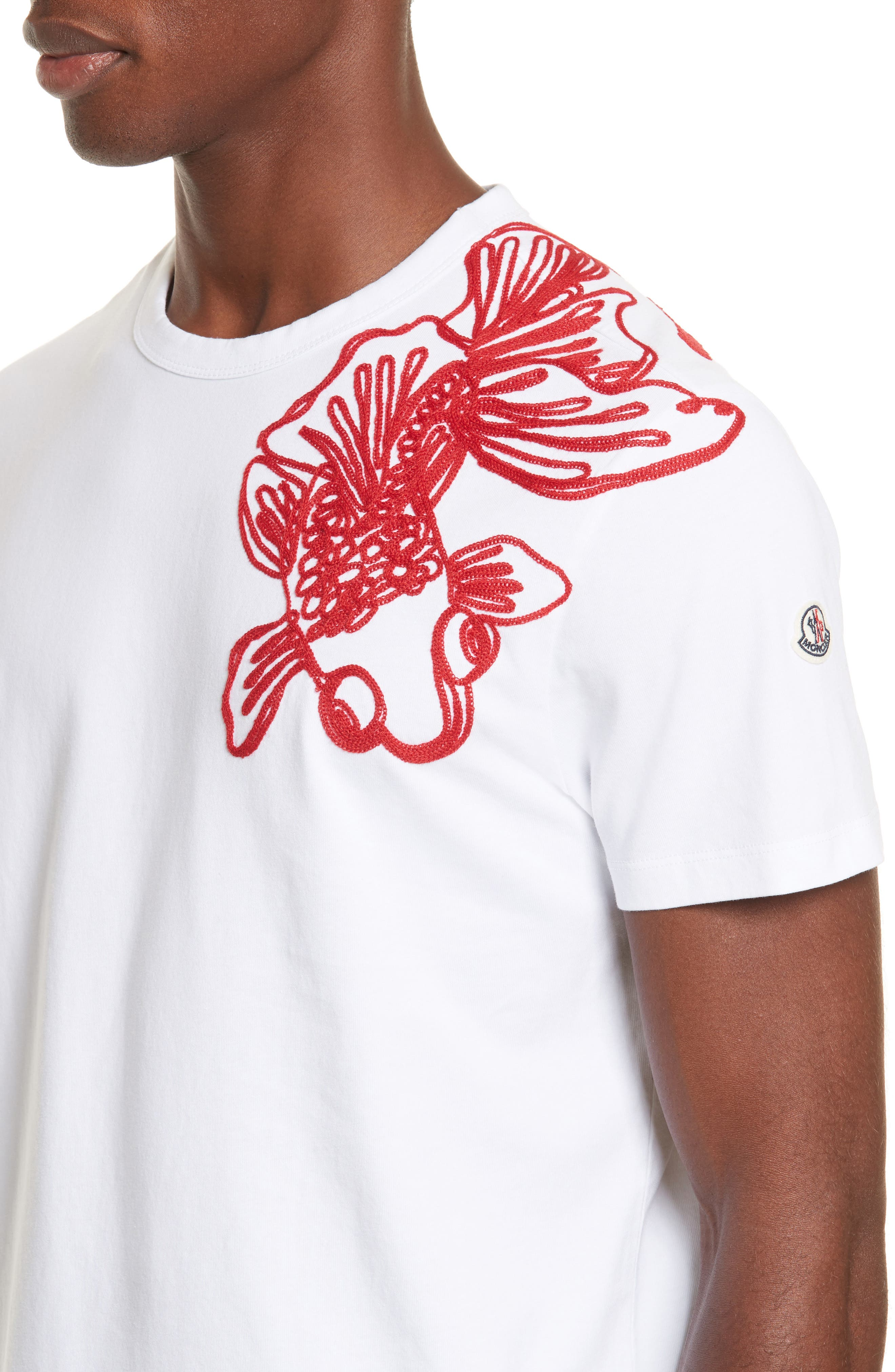 Embroidered Koi Fish T-Shirt,                             Alternate thumbnail 4, color,                             White