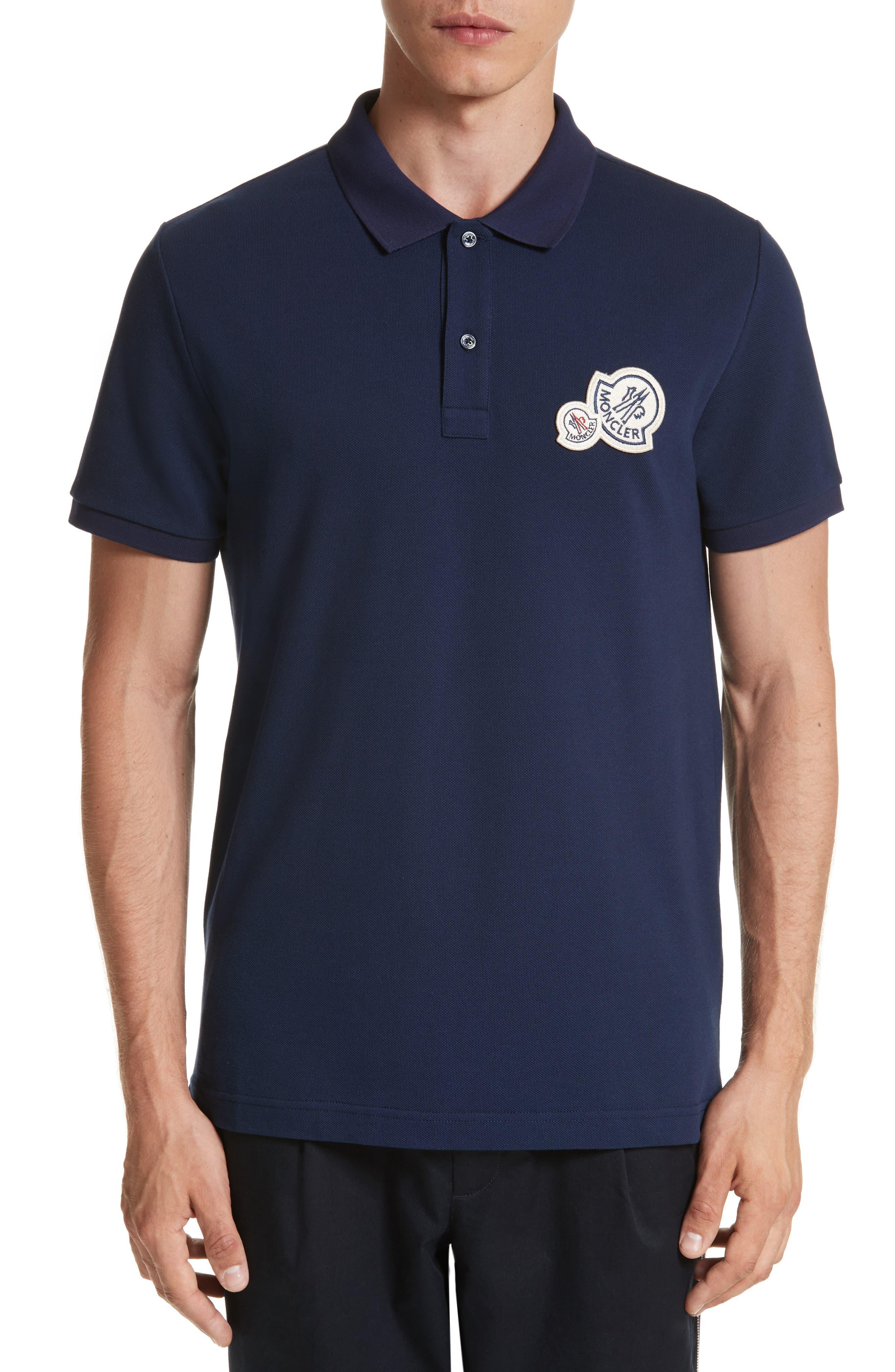 Dual Logo Polo Shirt,                         Main,                         color, Navy