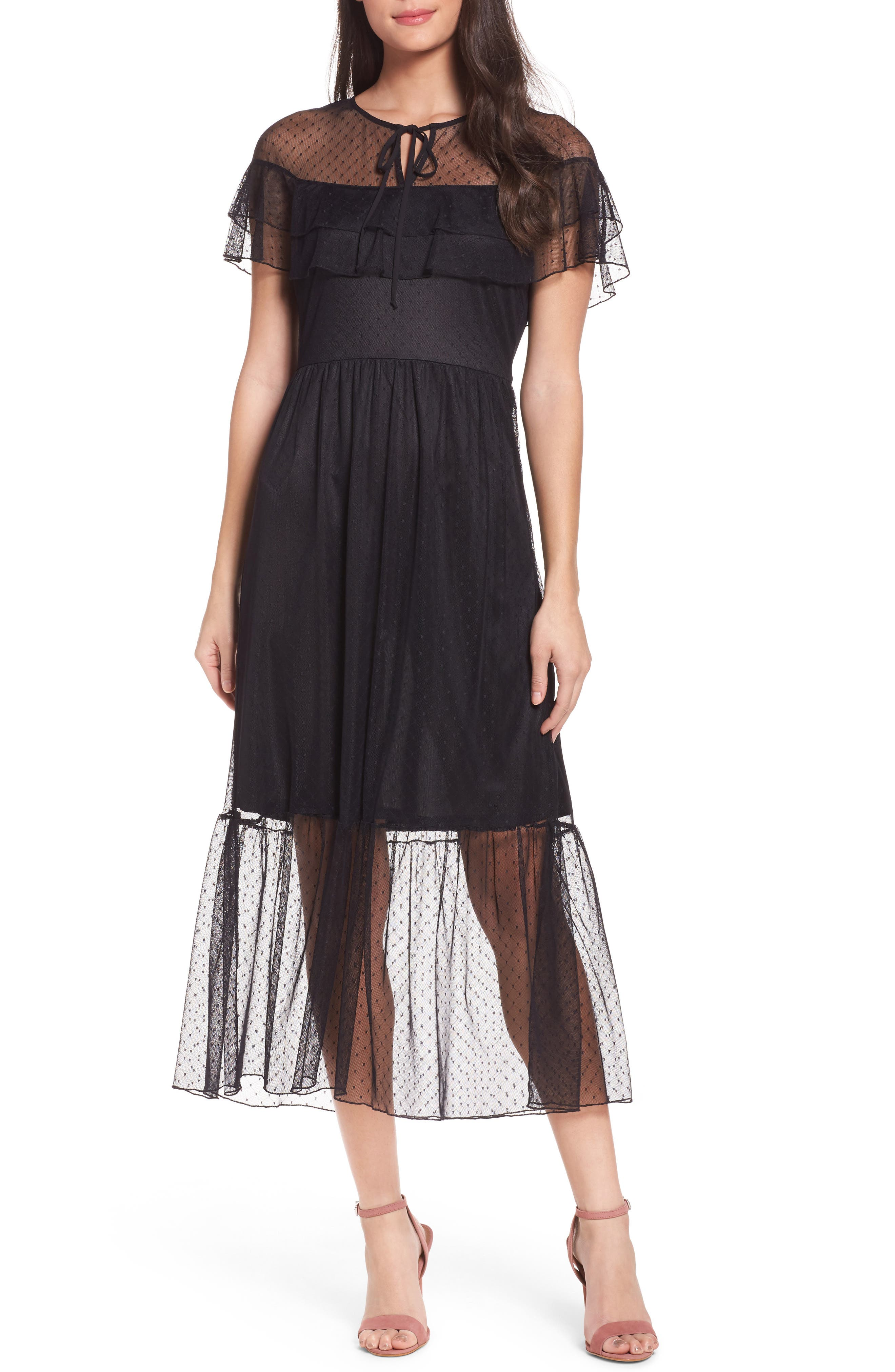 Main Image - NSR Lace Midi Dress