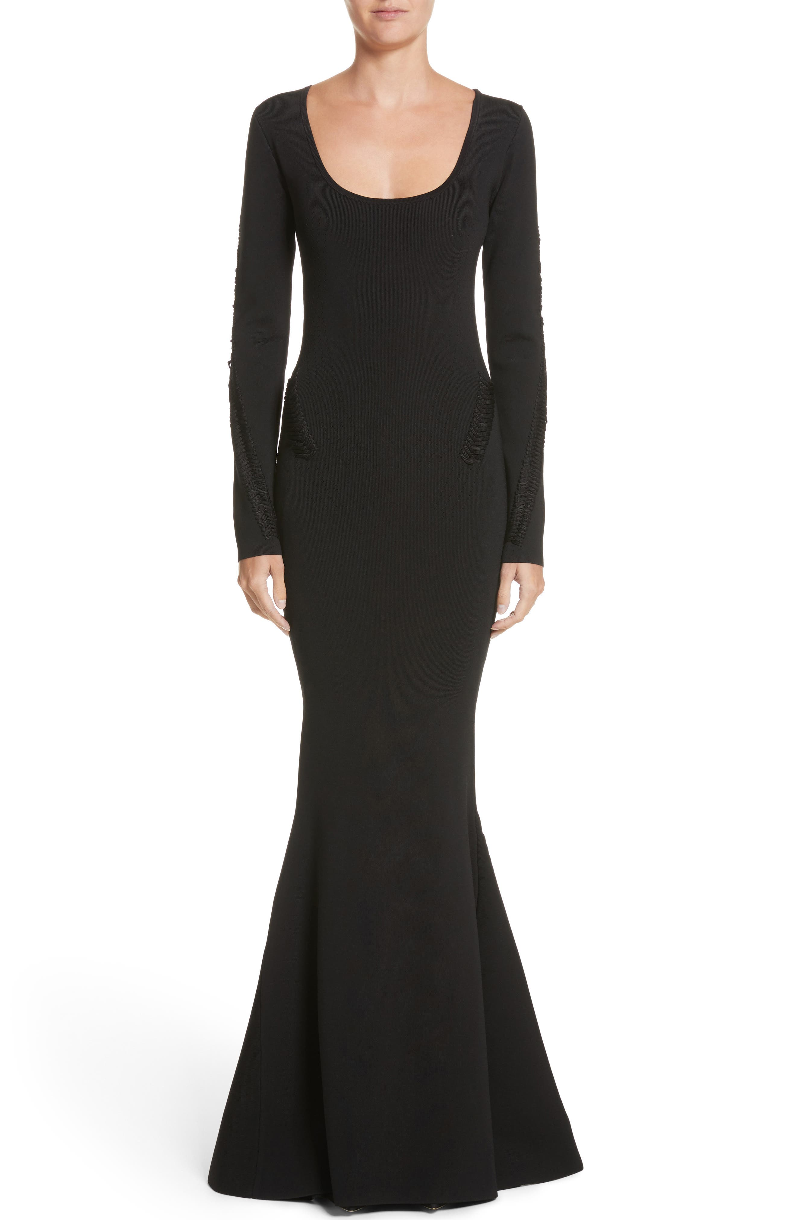 Rib Knit Trumpet Gown,                         Main,                         color, Black