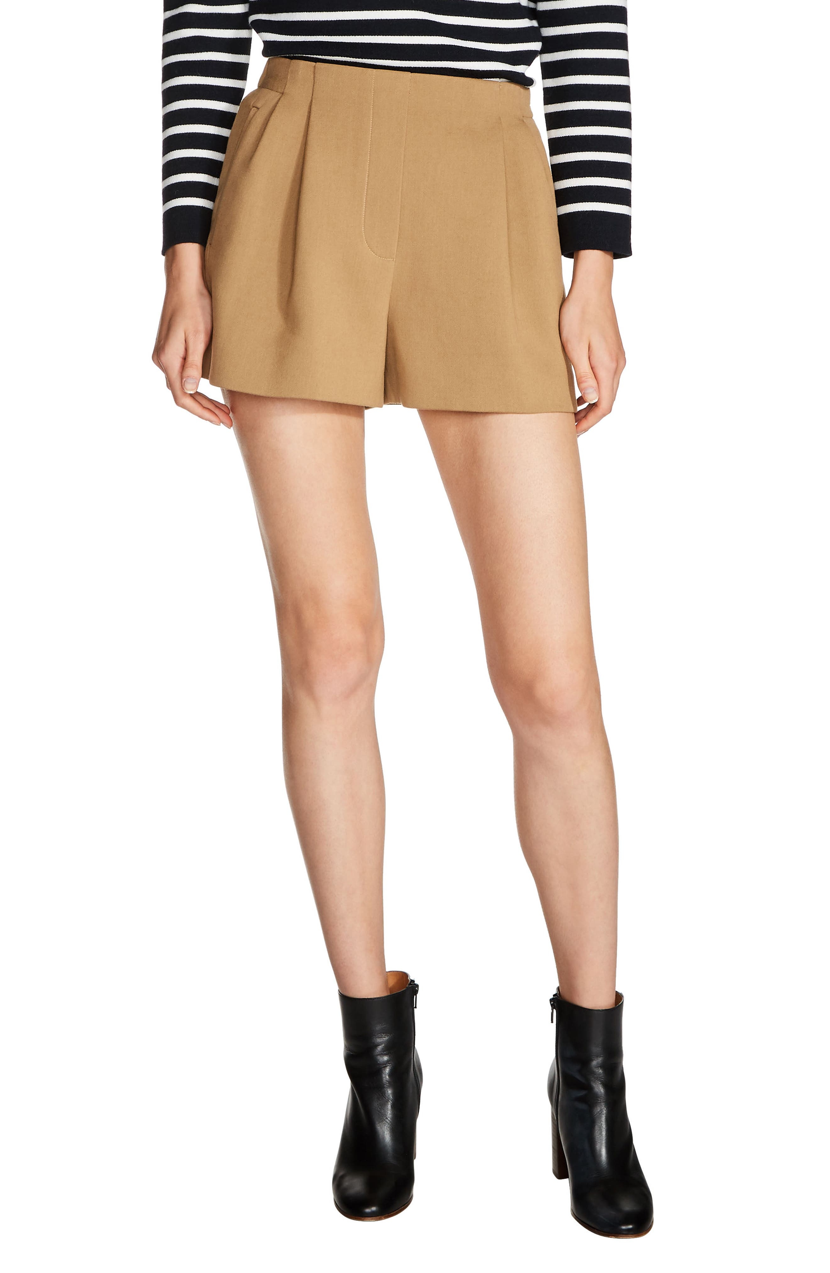 maje Pleat Front Shorts