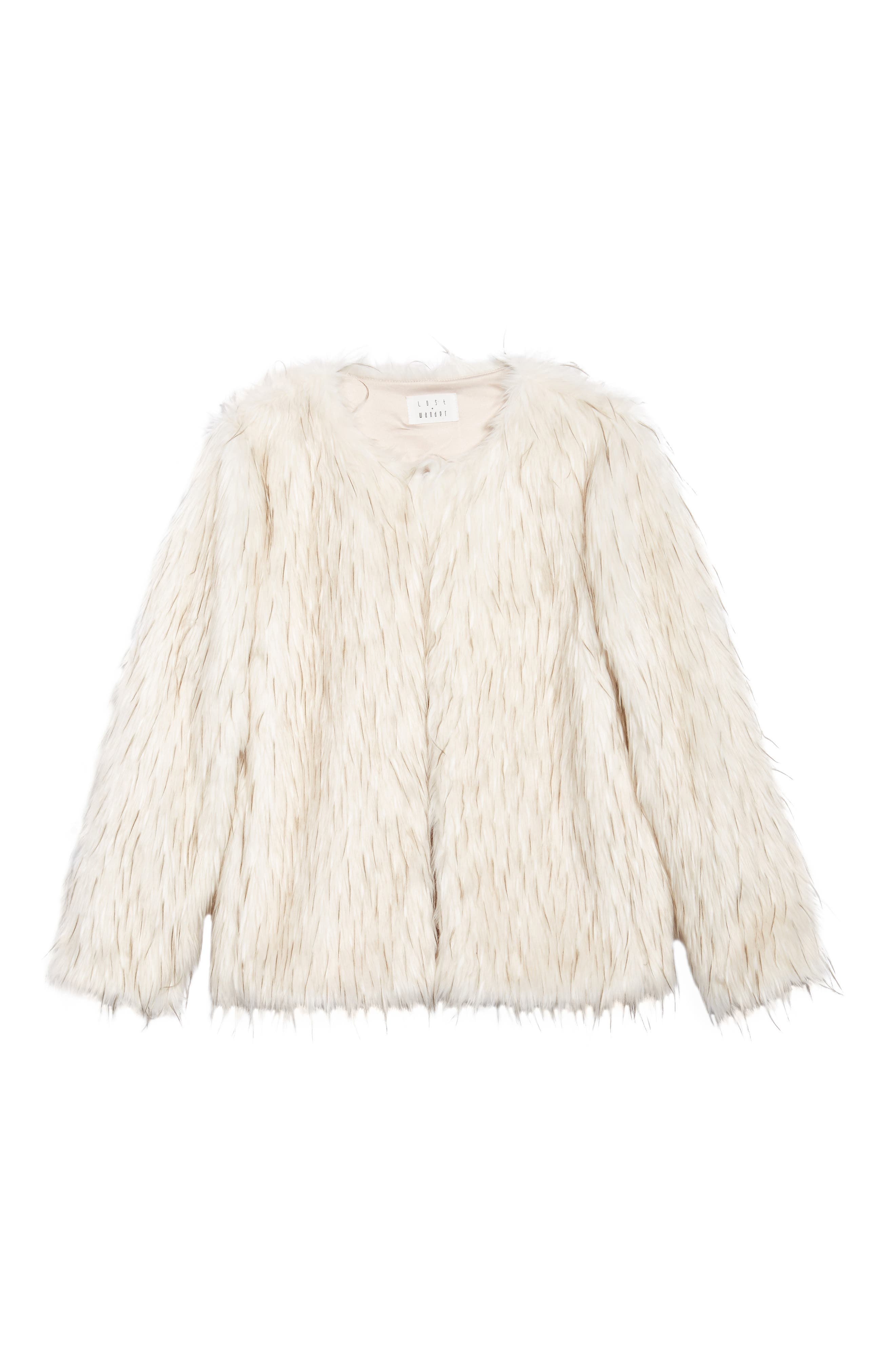 Aurora Faux Fur Jacket,                             Alternate thumbnail 7, color,                             Ivory