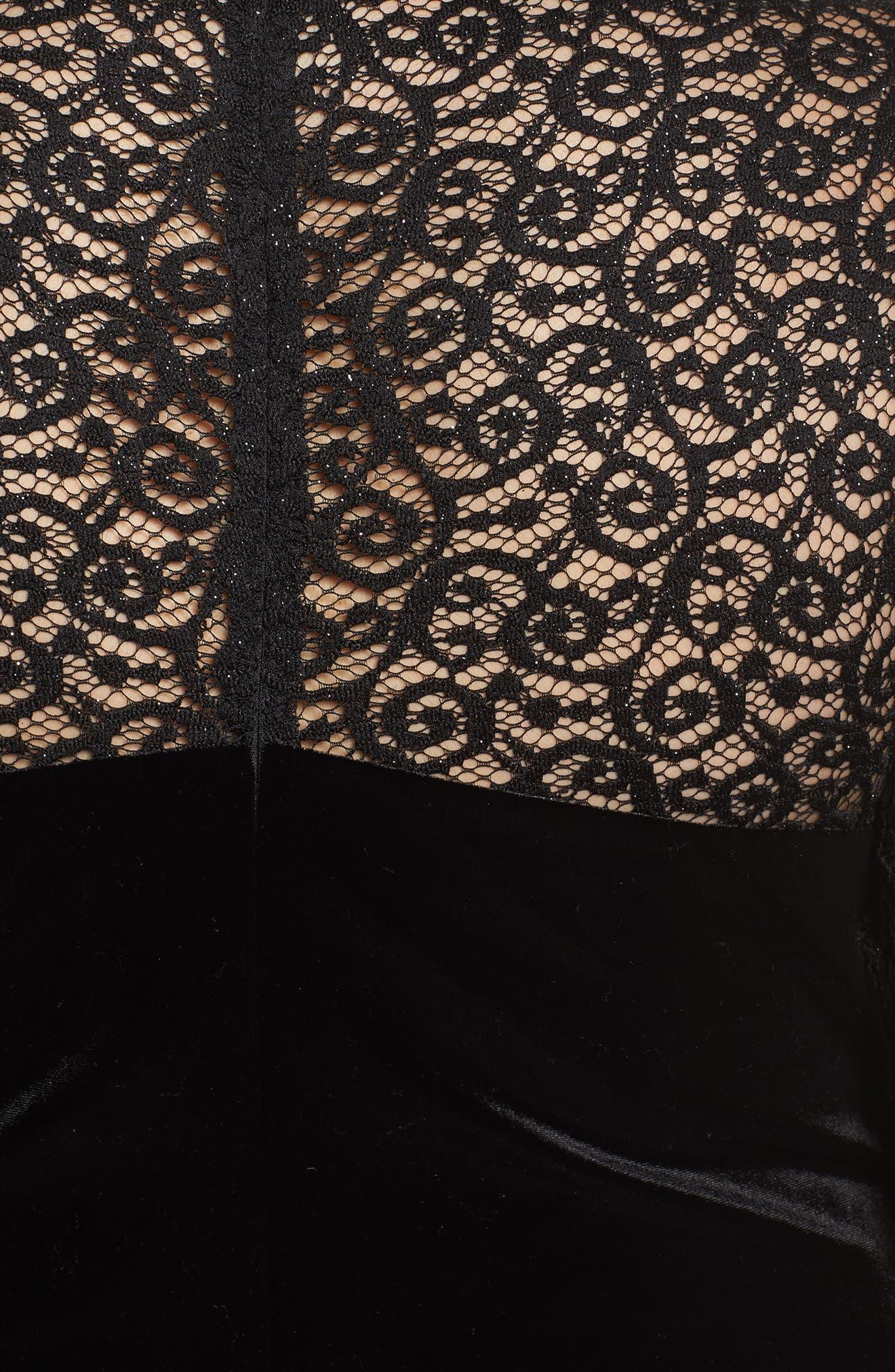 Velvet & Glitter Lace Sheath Dress,                             Alternate thumbnail 5, color,                             Black
