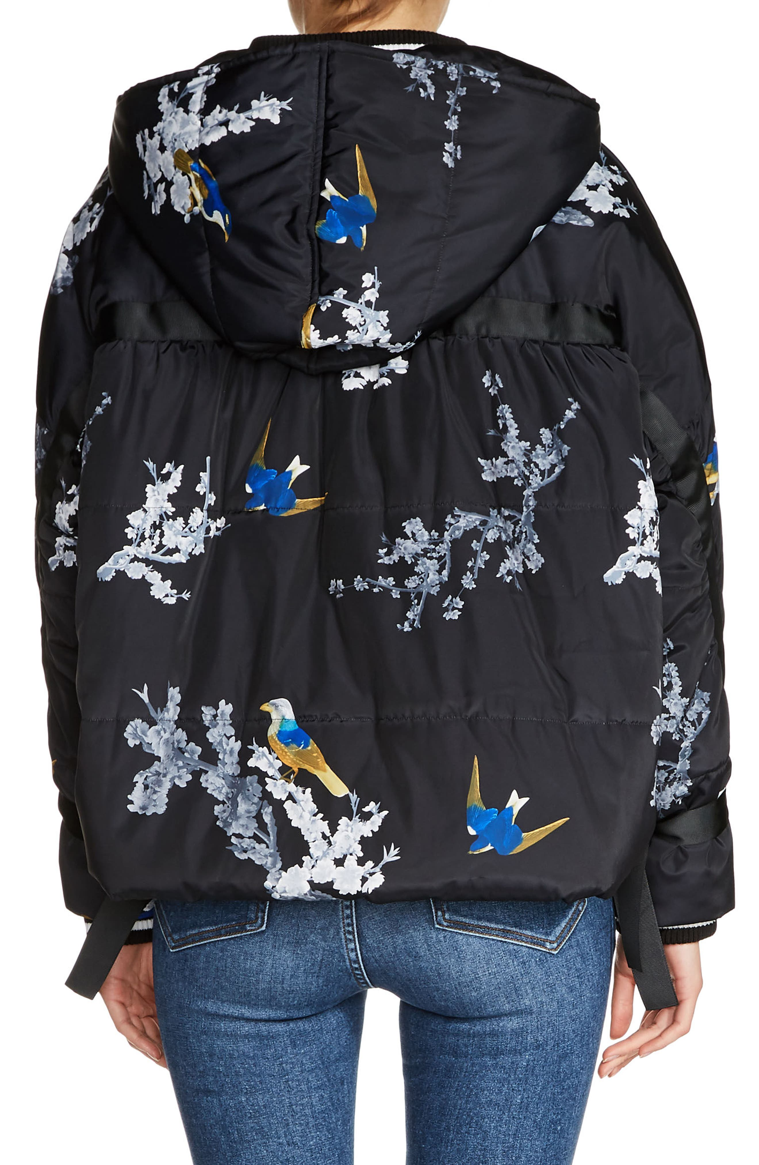 Hooded Print Jacket,                             Alternate thumbnail 2, color,                             Blue