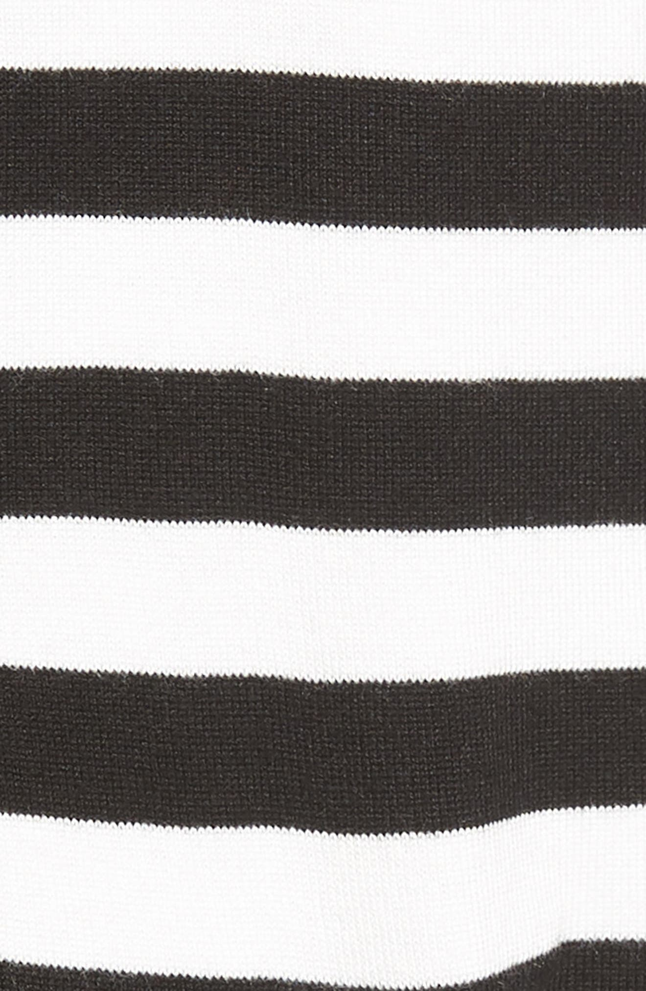 Relaxed Pocket Cardigan,                             Alternate thumbnail 6, color,                             Black- Ivory Stripe