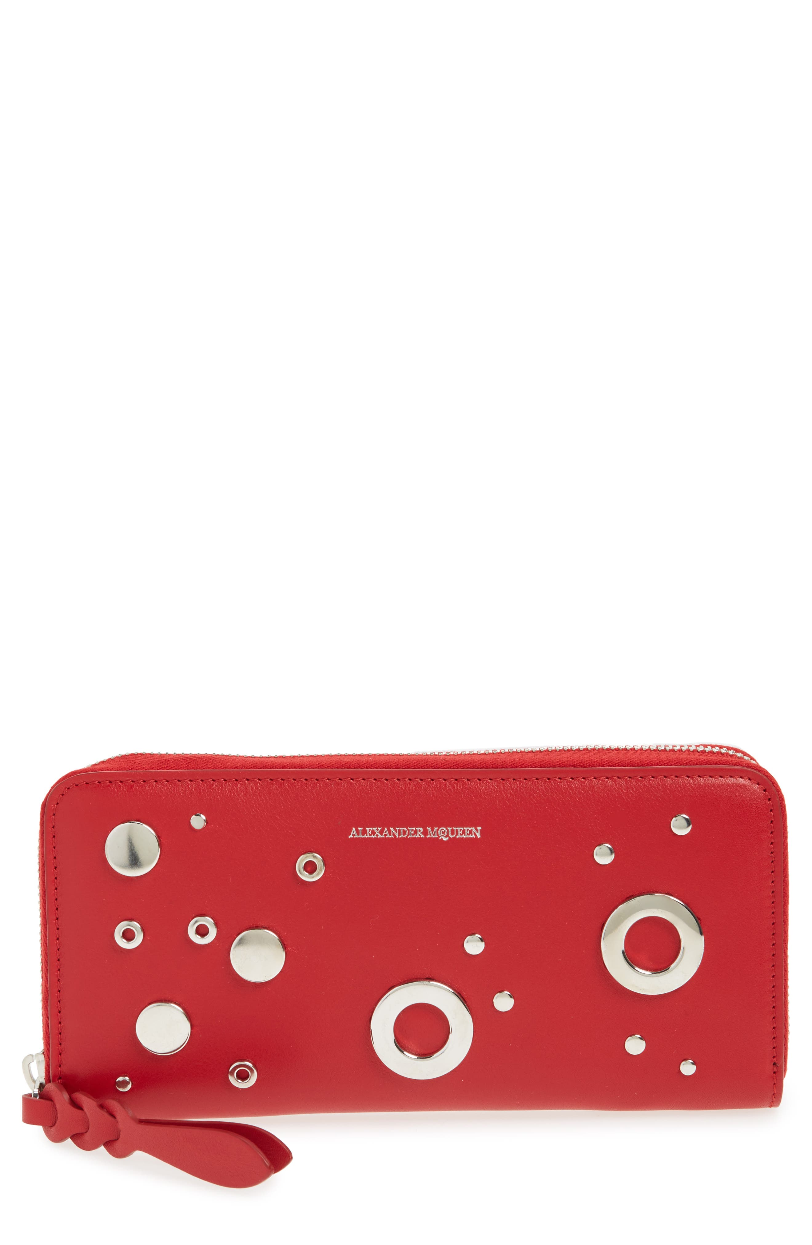 Studded Zip Around Continental Wallet,                         Main,                         color, New Scarlet