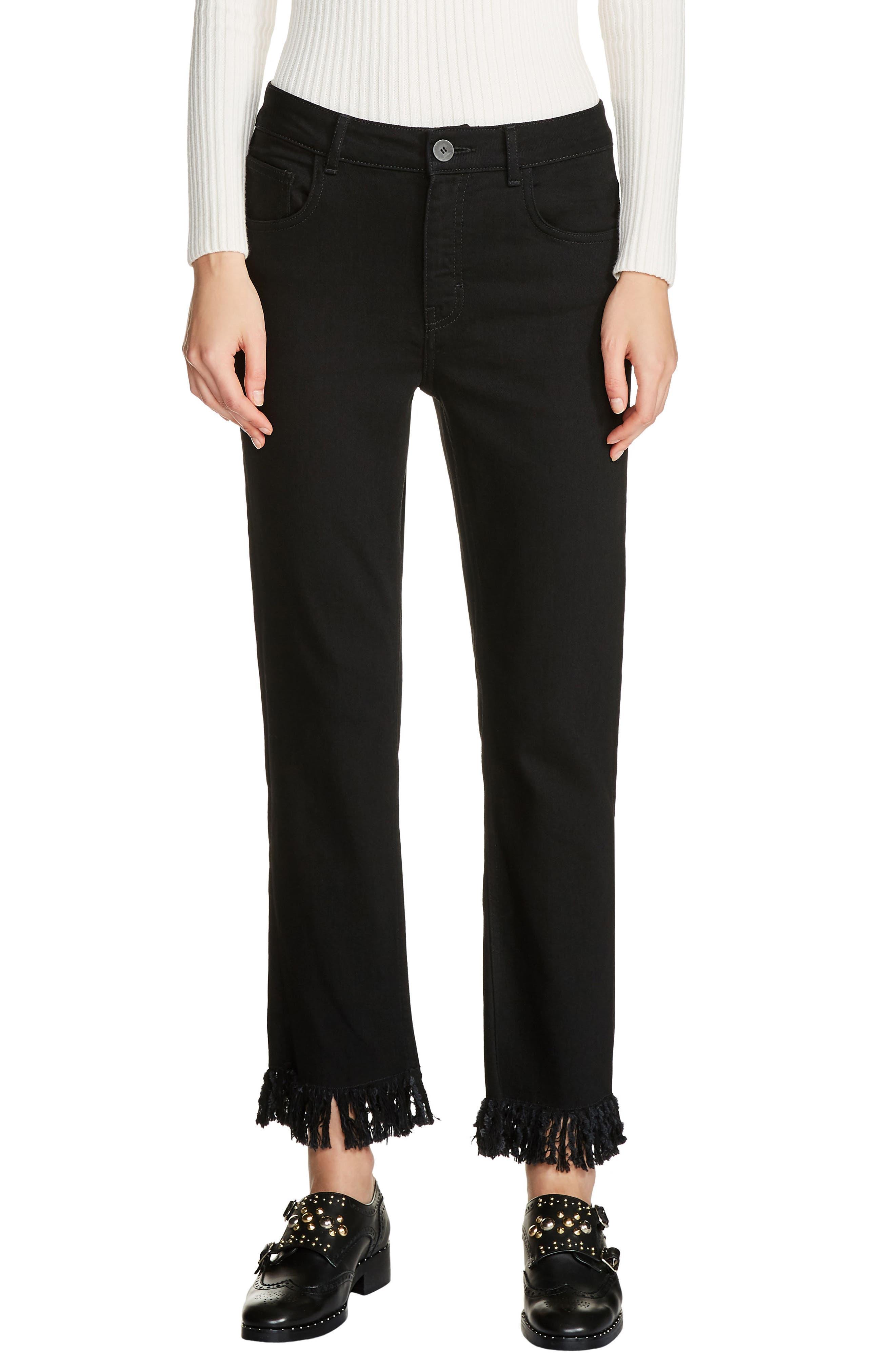 Fringe Hem Crop Jeans,                             Main thumbnail 1, color,                             Black