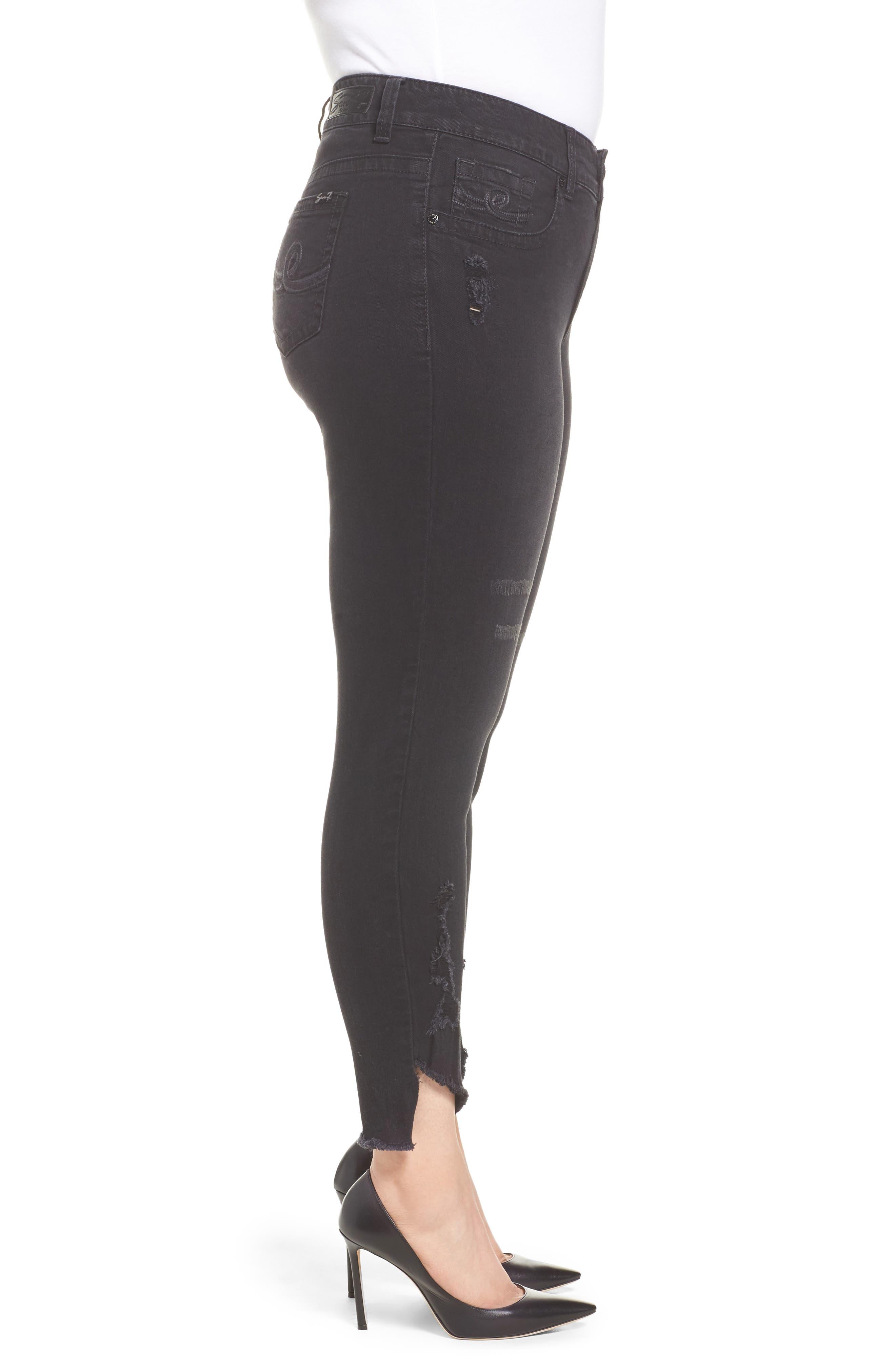 Distressed Slant Raw Hem Skinny Jeans,                             Alternate thumbnail 3, color,                             Blackbird