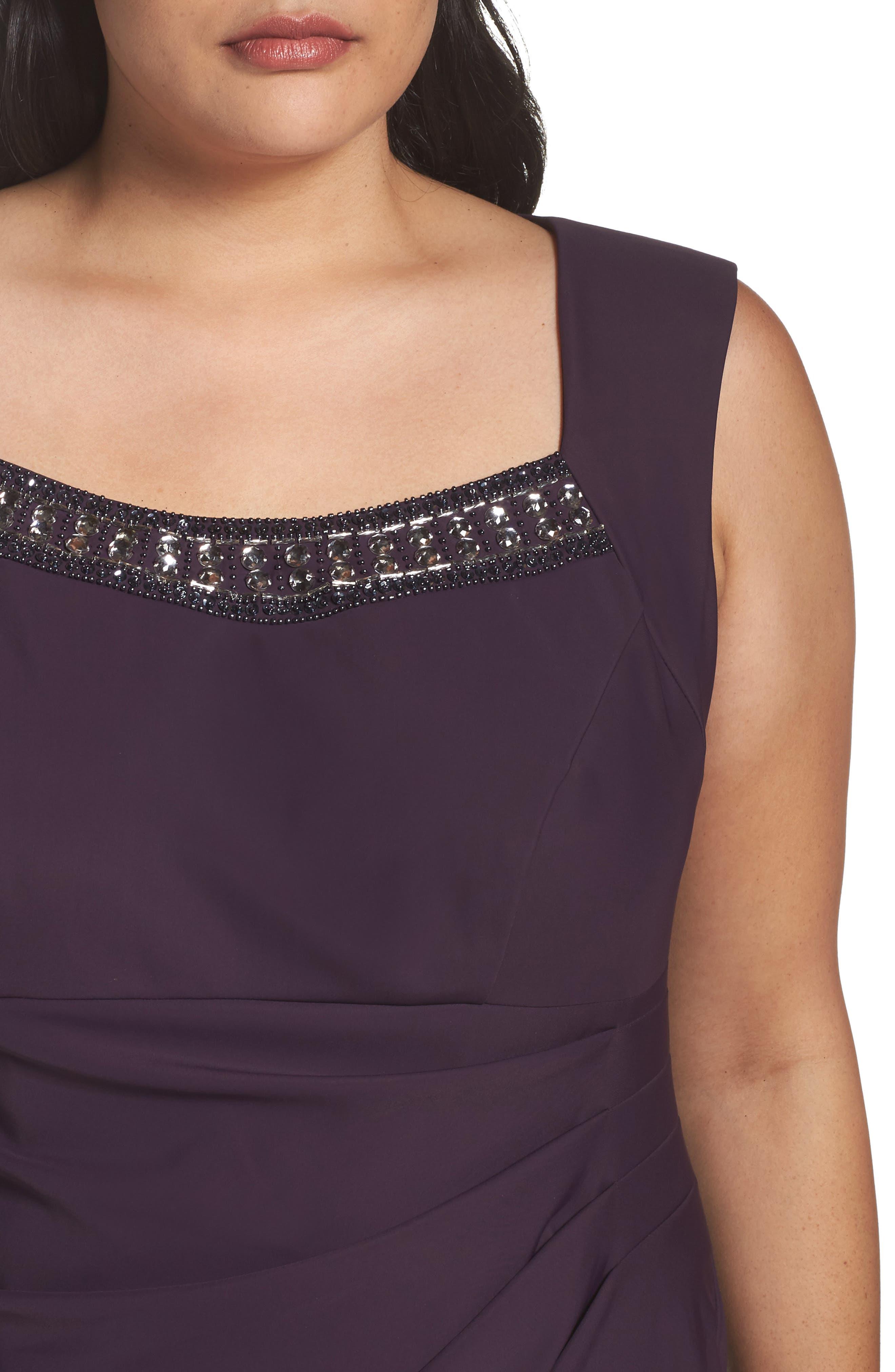 Alternate Image 4  - Alex Evenings Embellished Square Neck Sleeveless Sheath Dress (Plus Size)