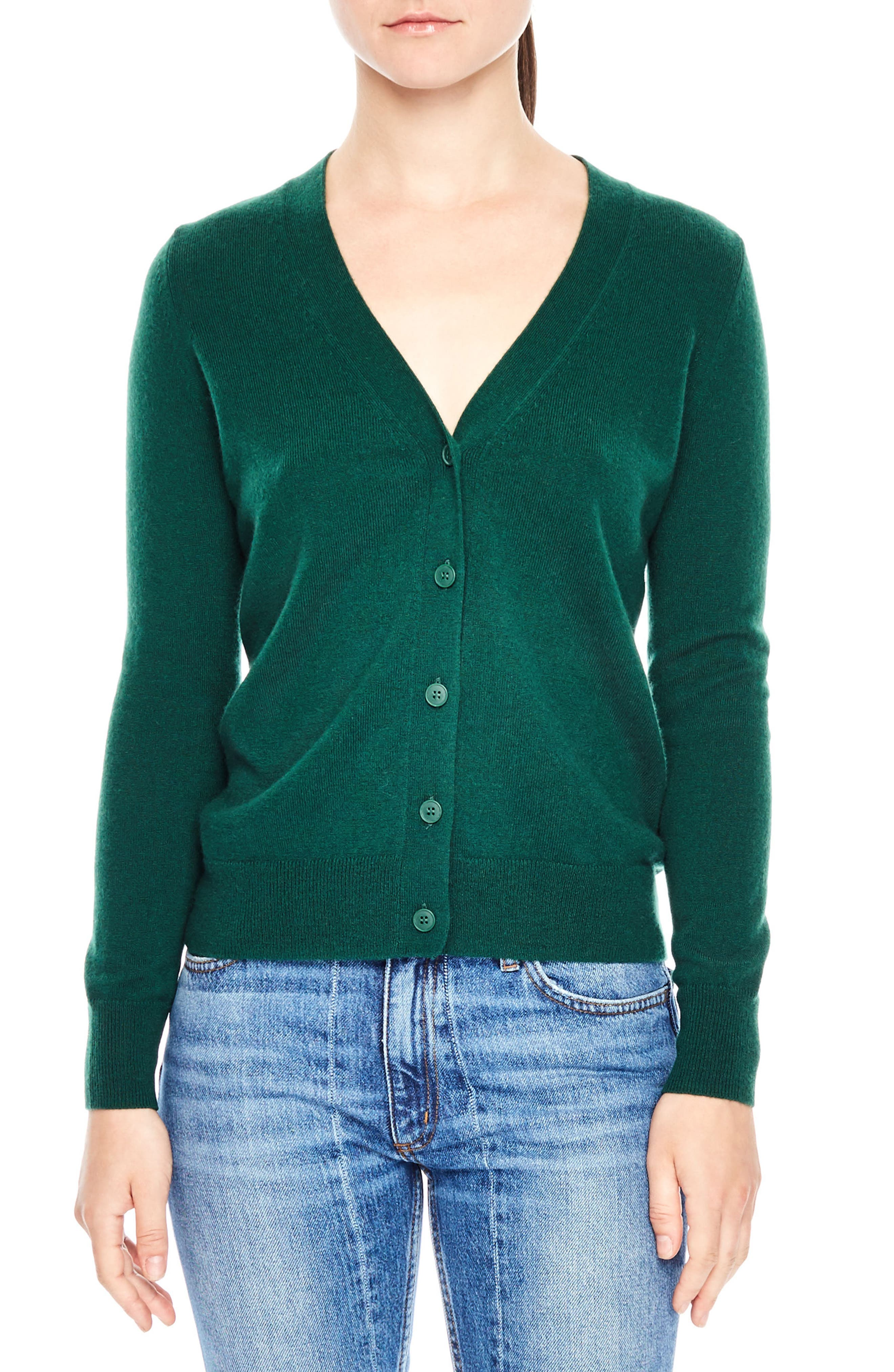 Tie Back Wool & Cashmere Cardigan,                         Main,                         color, Green