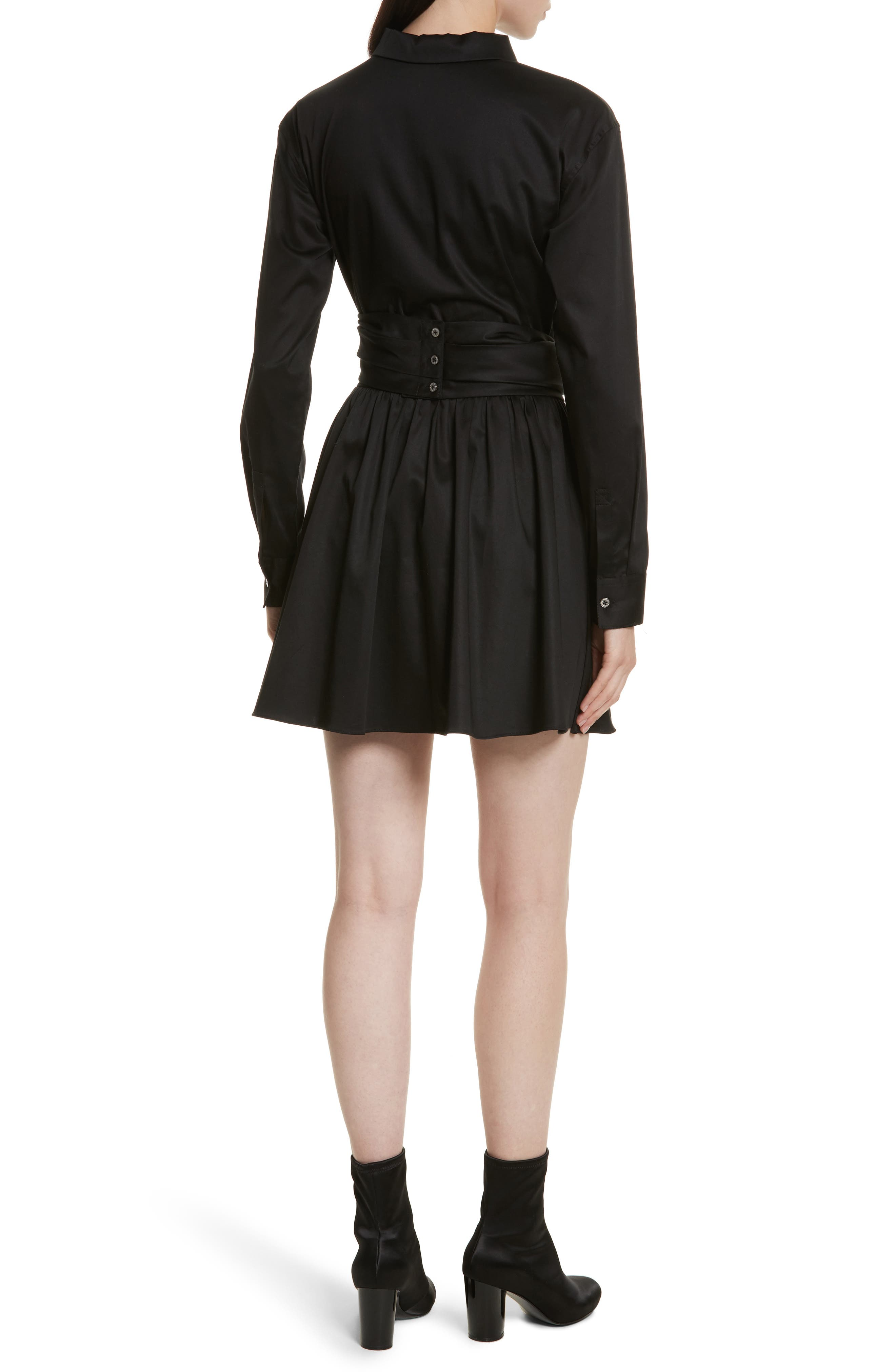 Wrap Front Sateen Dress,                             Alternate thumbnail 2, color,                             Black