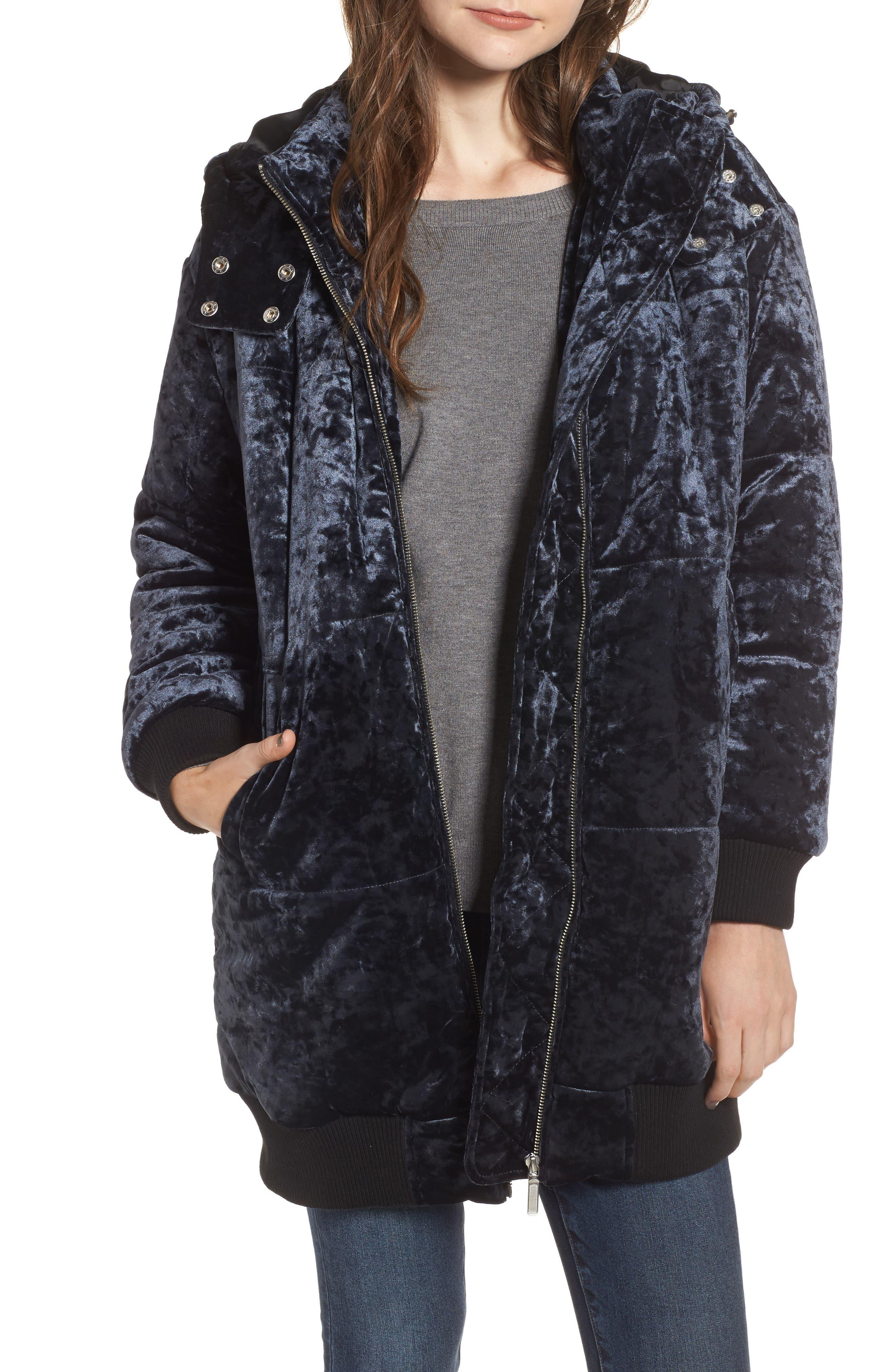 Velvet Hooded Puffer Jacket,                         Main,                         color, Navy Medieval