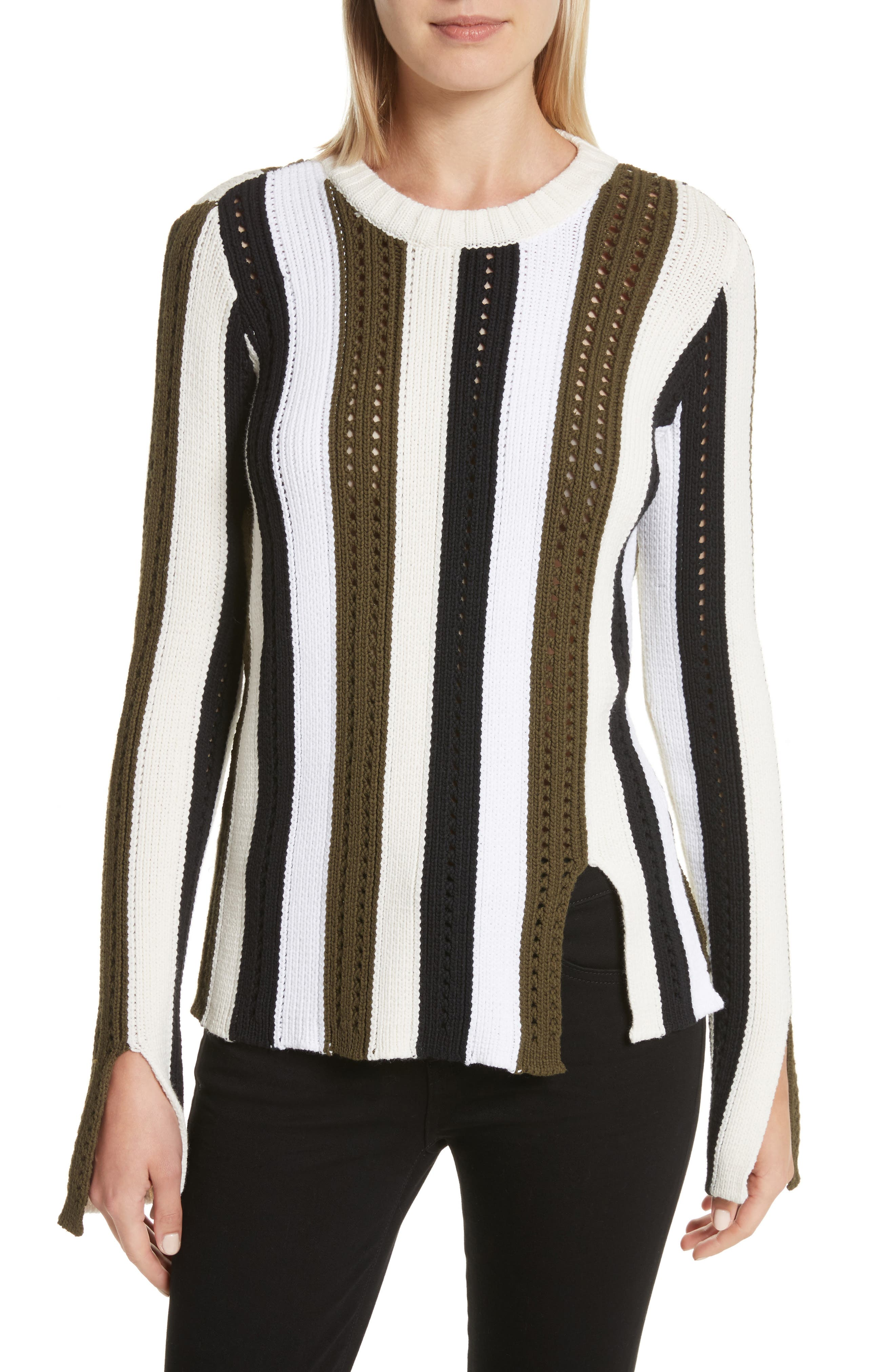 Pointelle Stripe Sweater,                             Main thumbnail 1, color,                             Army Multi