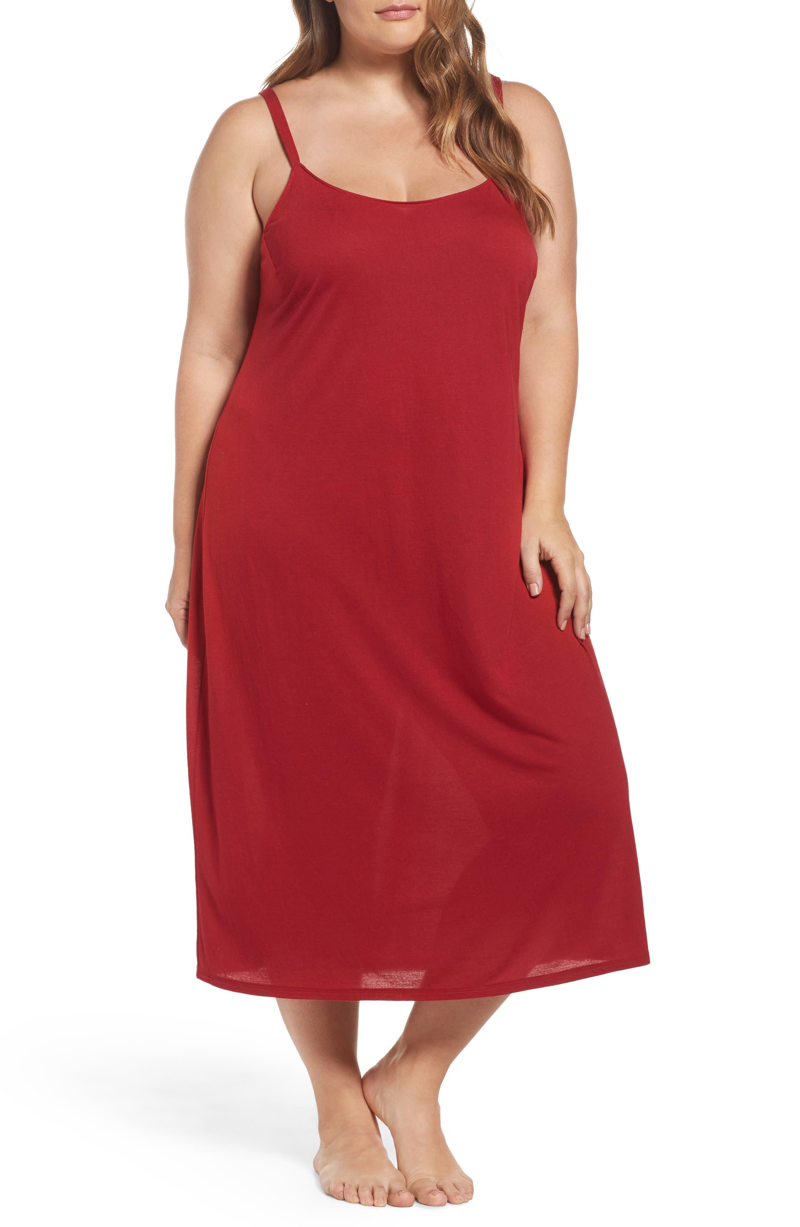 'Shangri La' Nightgown,                             Main thumbnail 1, color,                             Crimson Red