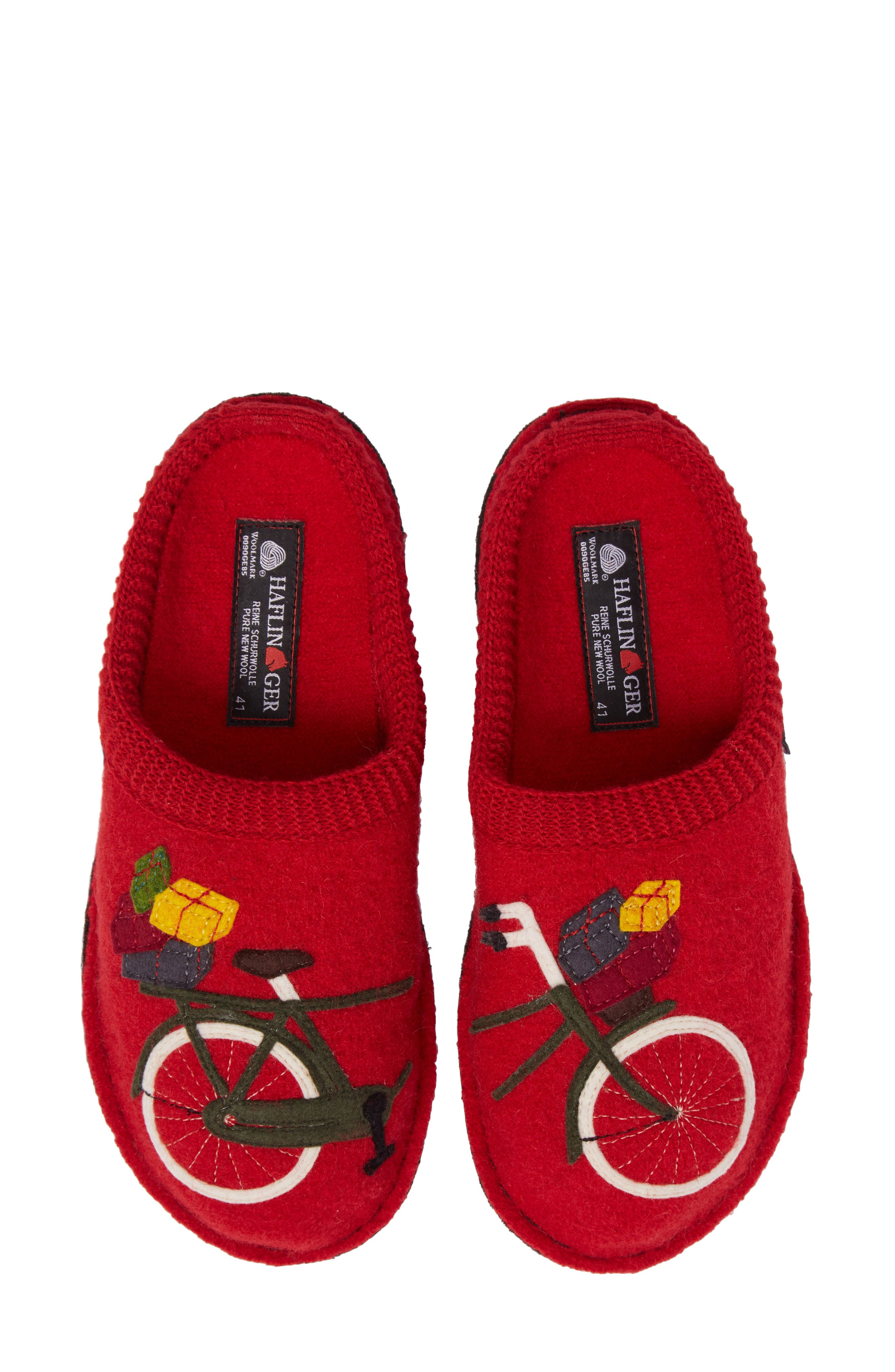 Bicycle Slipper,                         Main,                         color, Bicycle Red Wool