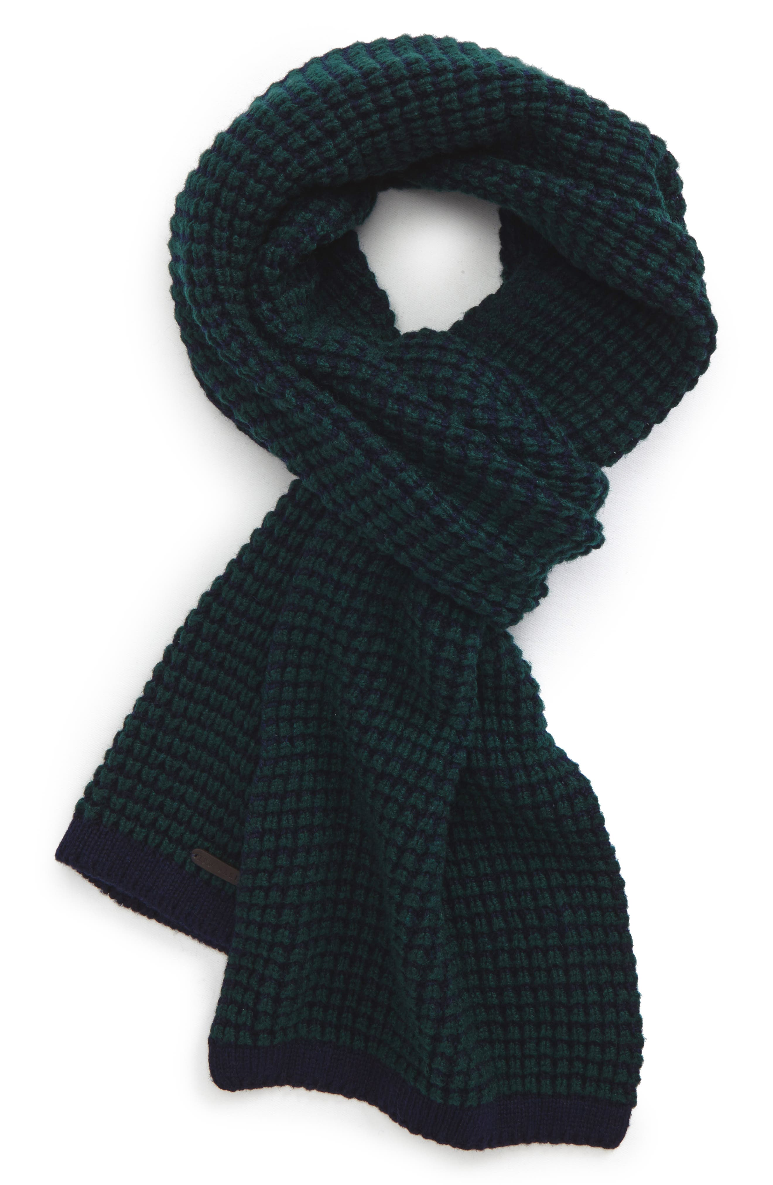 Walnut Wool Blend Scarf,                             Main thumbnail 1, color,                             Teal-Blue