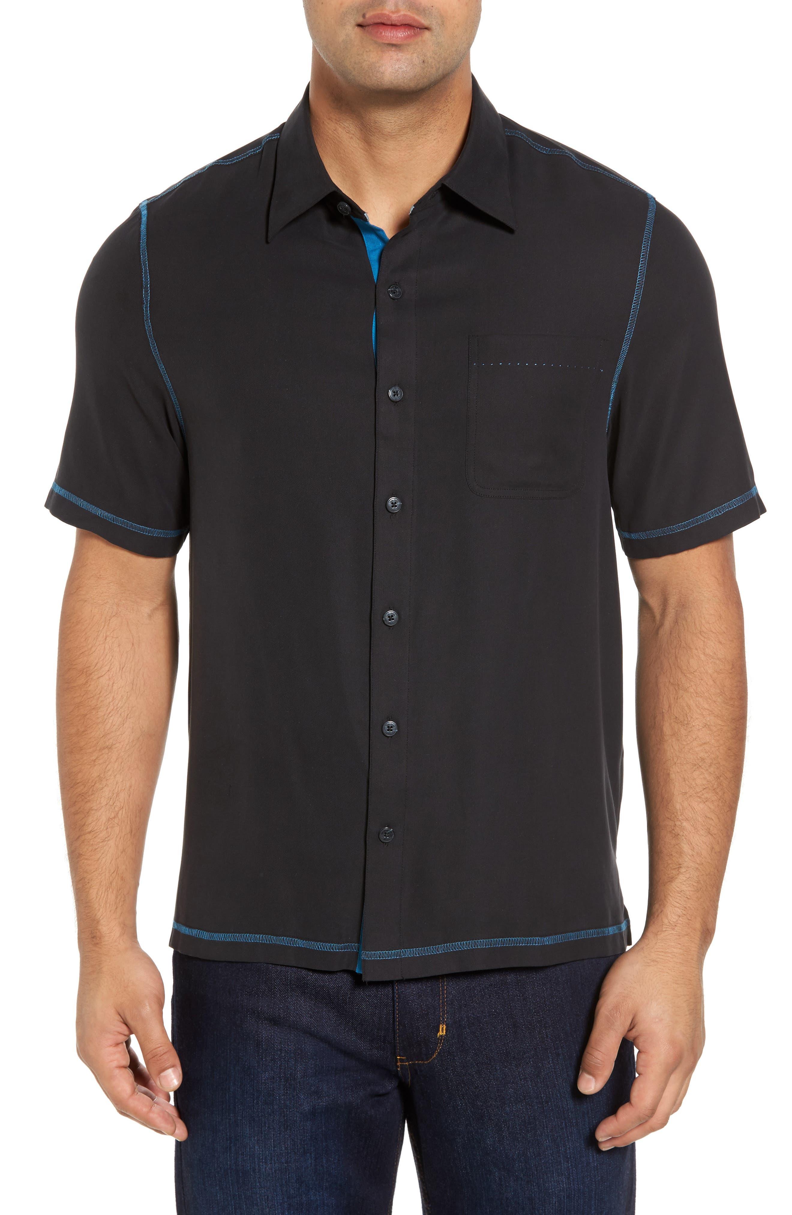 New Originals Silk Sport Shirt,                         Main,                         color, Black