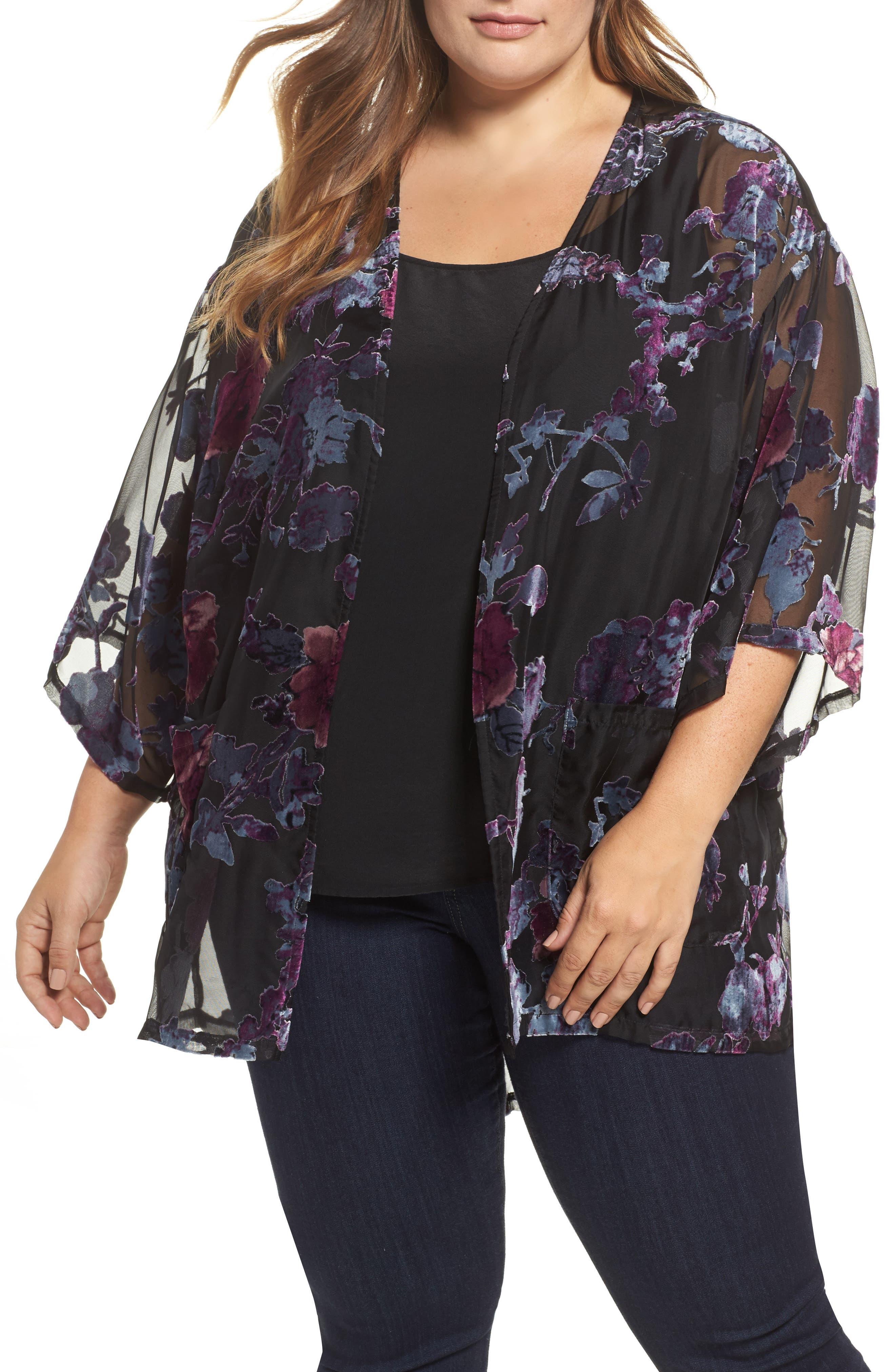 Main Image - Daniel Rainn Burnout Velvet Kimono Jacket (Plus Size)