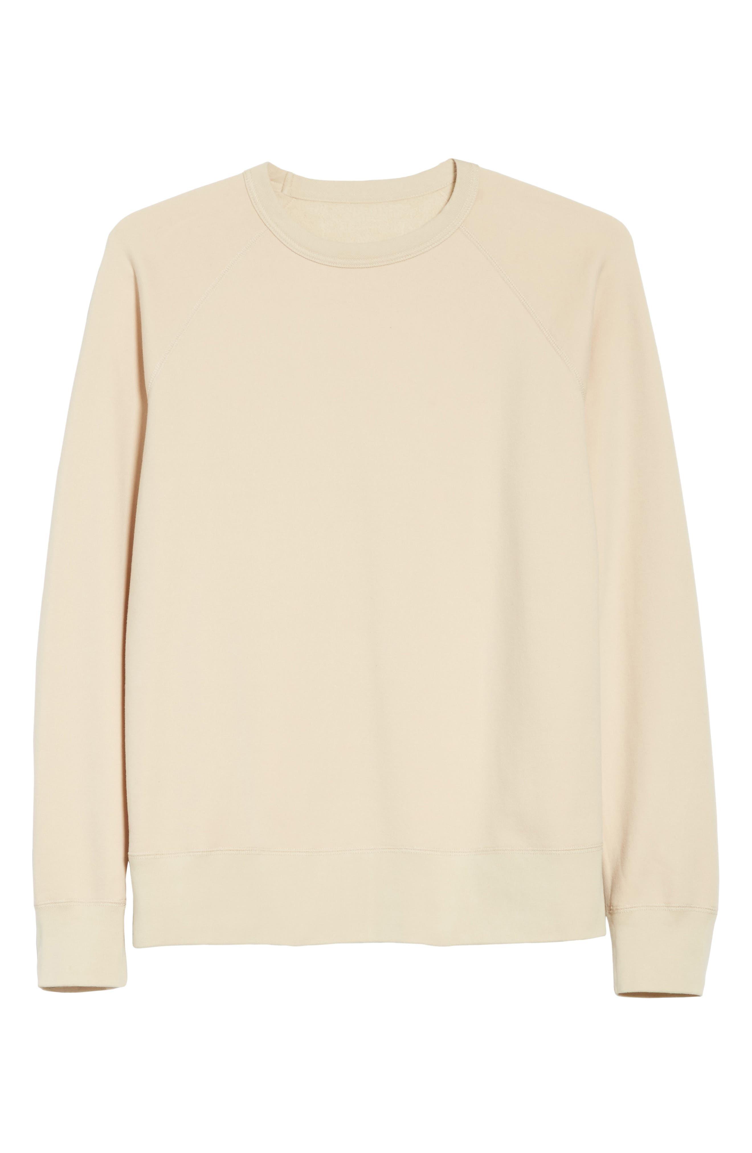 Reversible Raglan Crewneck Sweatshirt,                             Alternate thumbnail 6, color,                             Beige