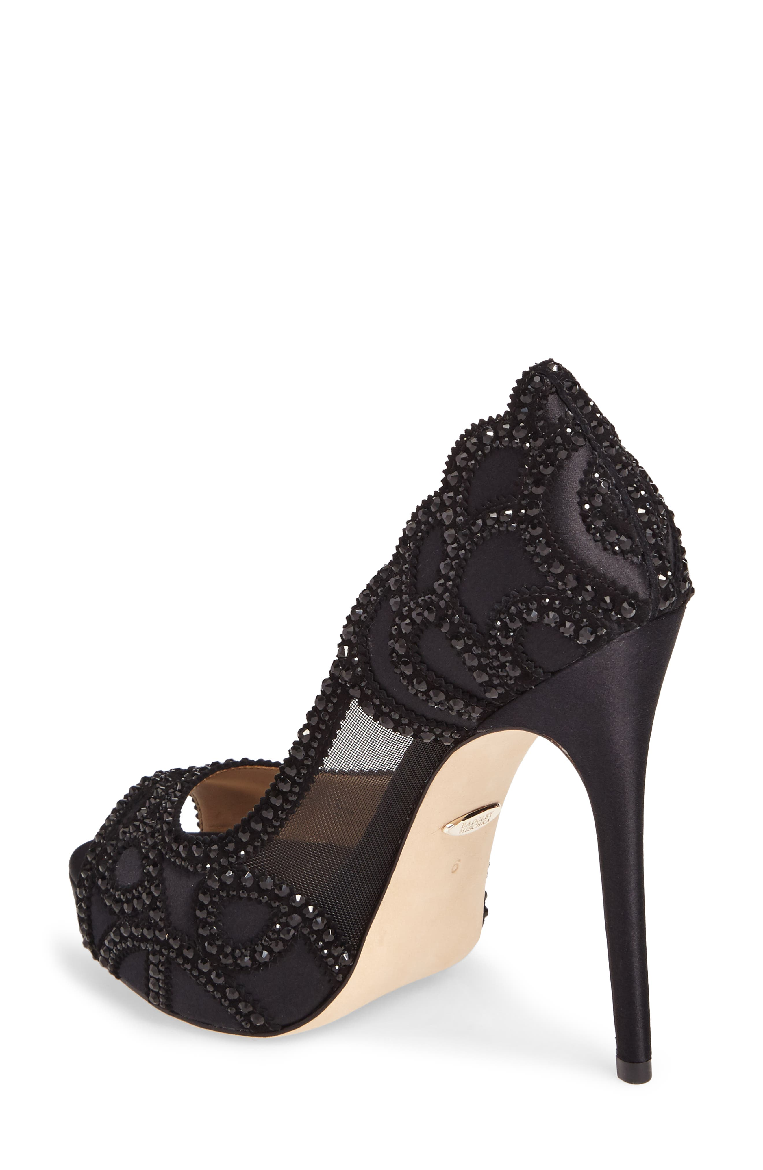 Witney Embellished Peep Toe Pump,                             Alternate thumbnail 2, color,                             Black Satin