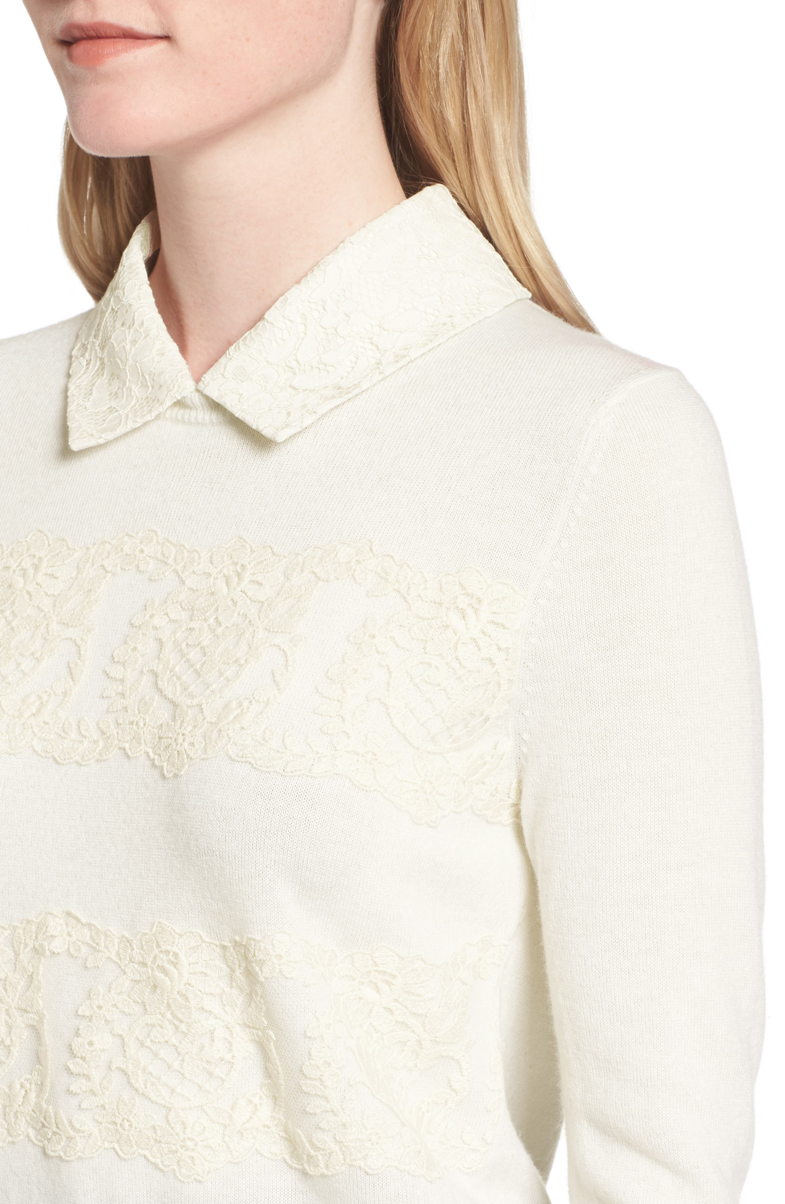 Lace Collar Augusta Sweater,                             Alternate thumbnail 4, color,                             Willow White
