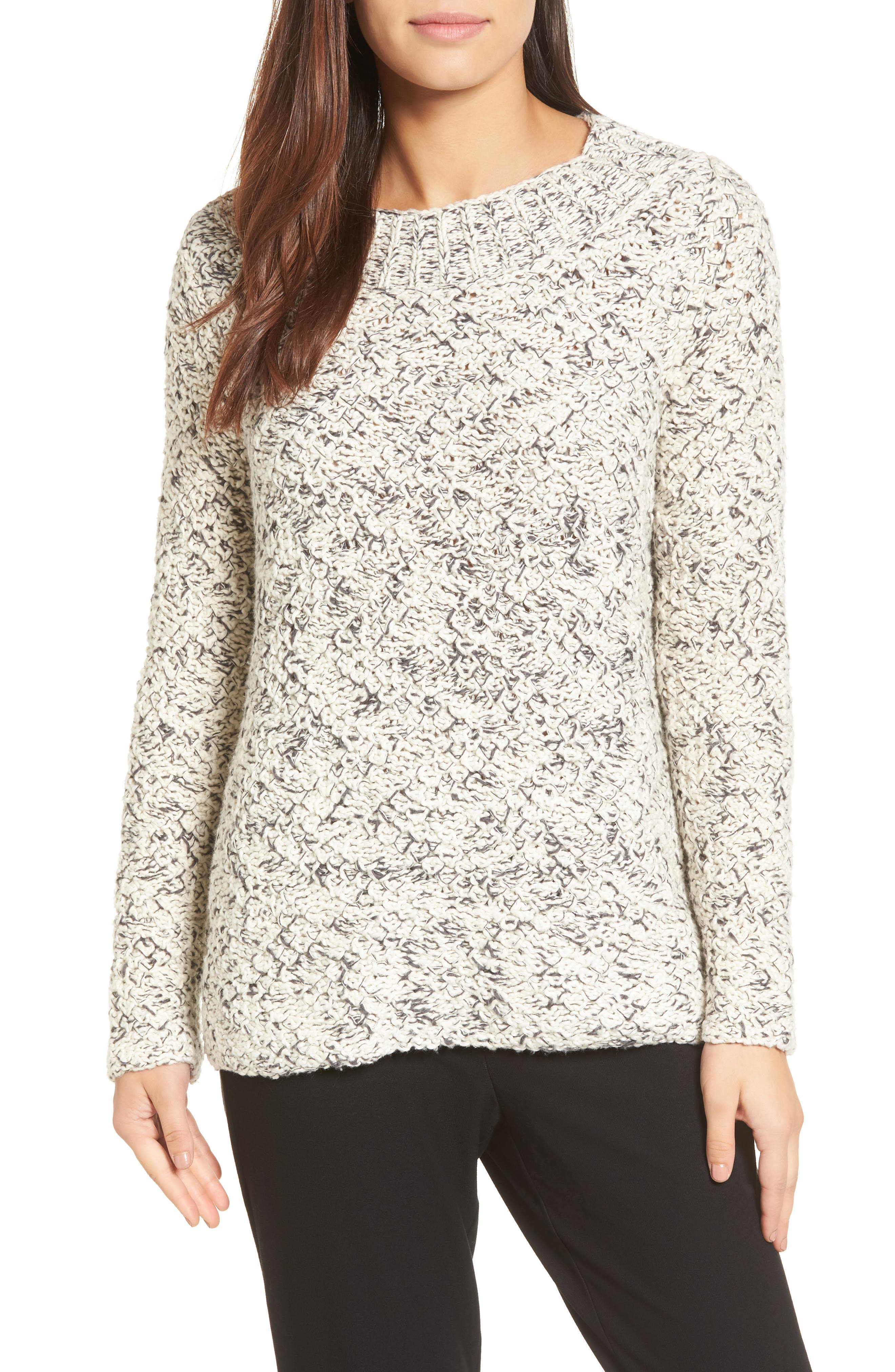 Marled Organic Cotton Sweater,                         Main,                         color, Soft White