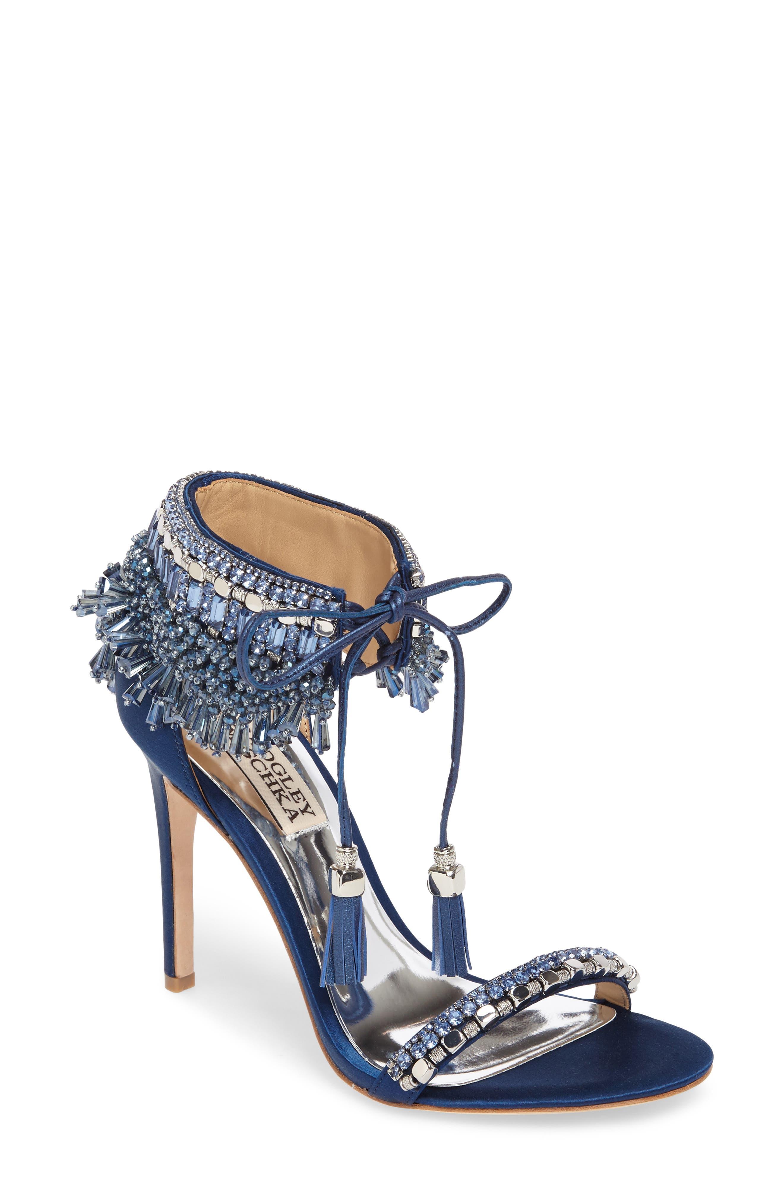 Badgley Mischka Katrina Embellished Tie Sandal (Women)