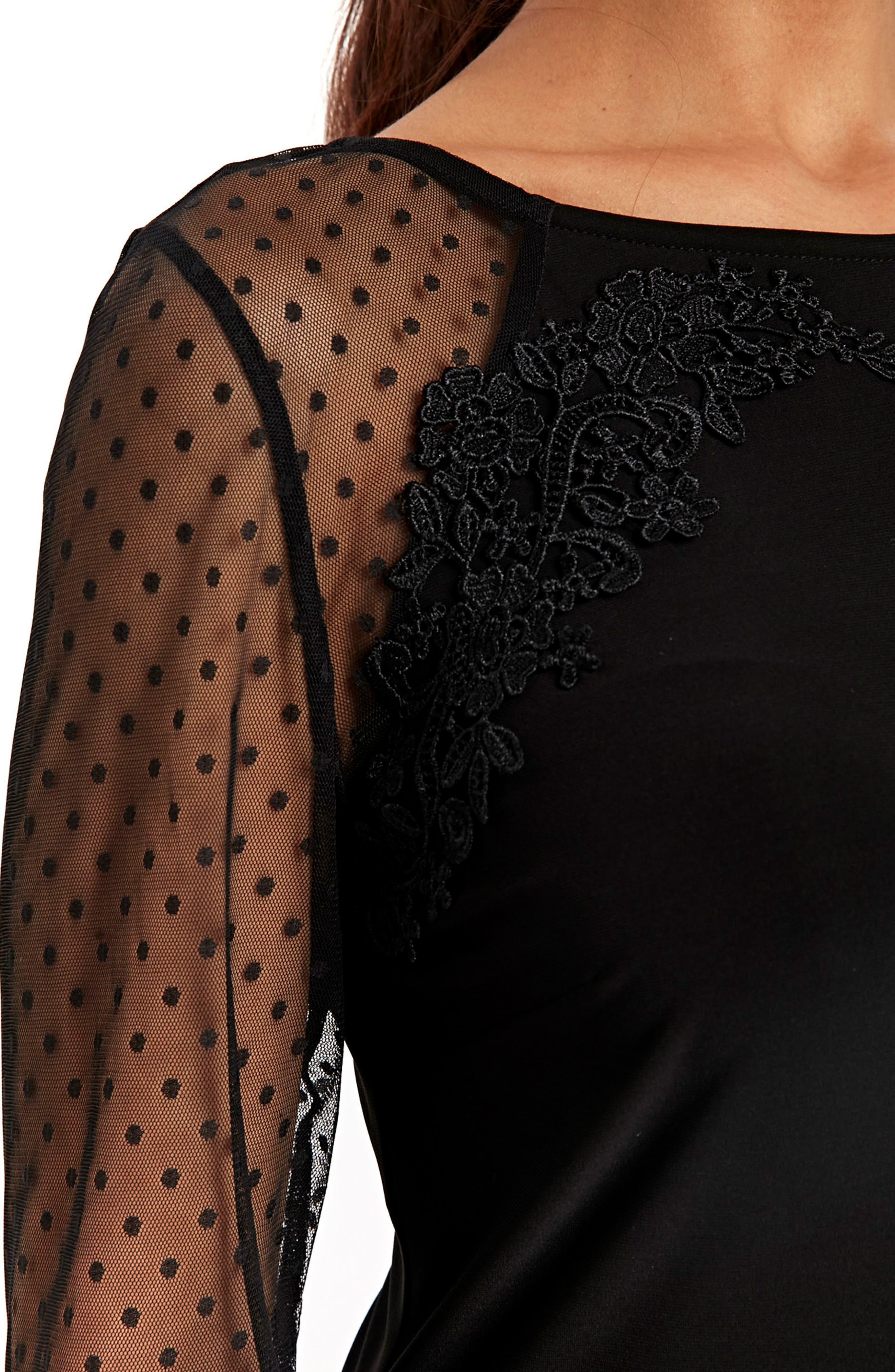 Dot Mesh Sleeve Sheath Dress,                             Alternate thumbnail 3, color,                             Black