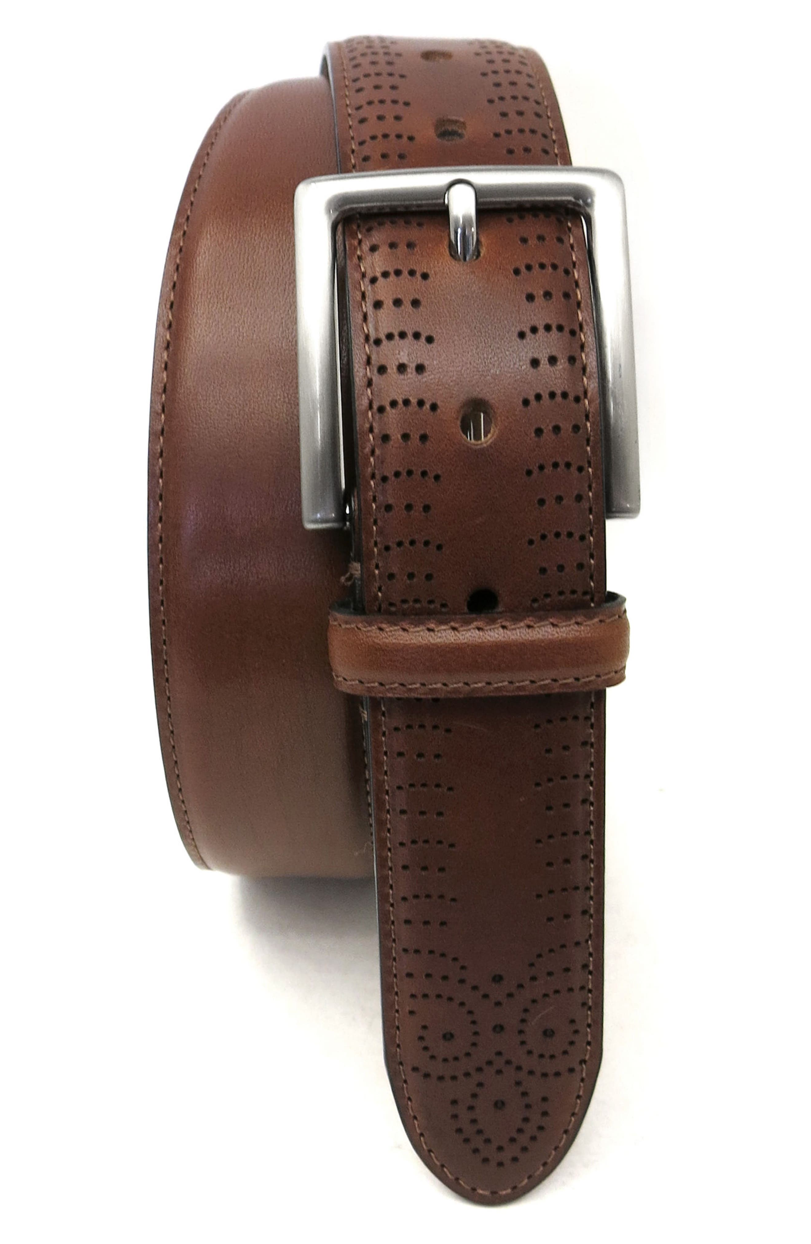 Perforated Tab Leather Belt,                         Main,                         color, Cognac