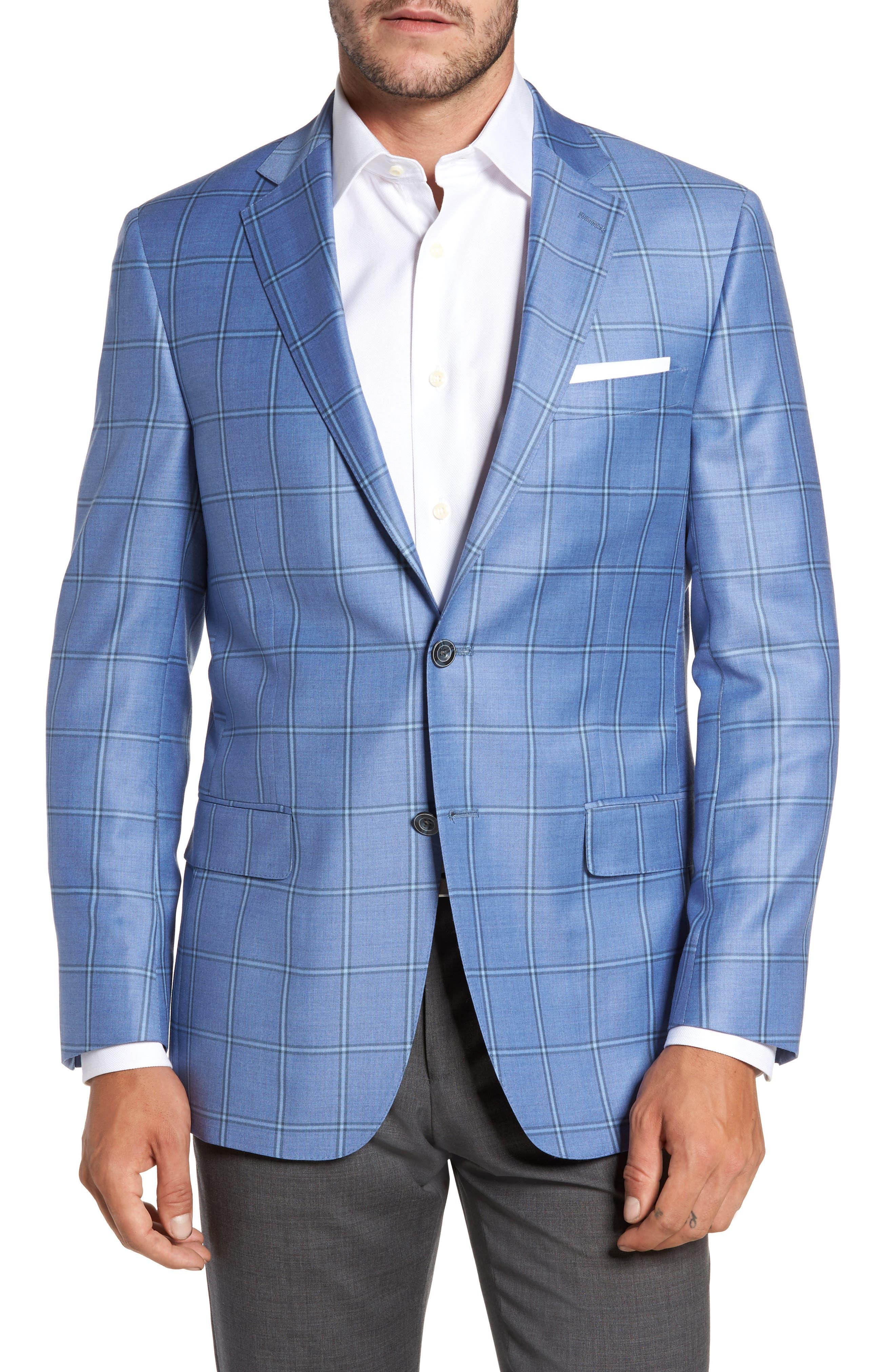 Classic Fit Windowpane Wool Sport Coat,                         Main,                         color, Light Blue