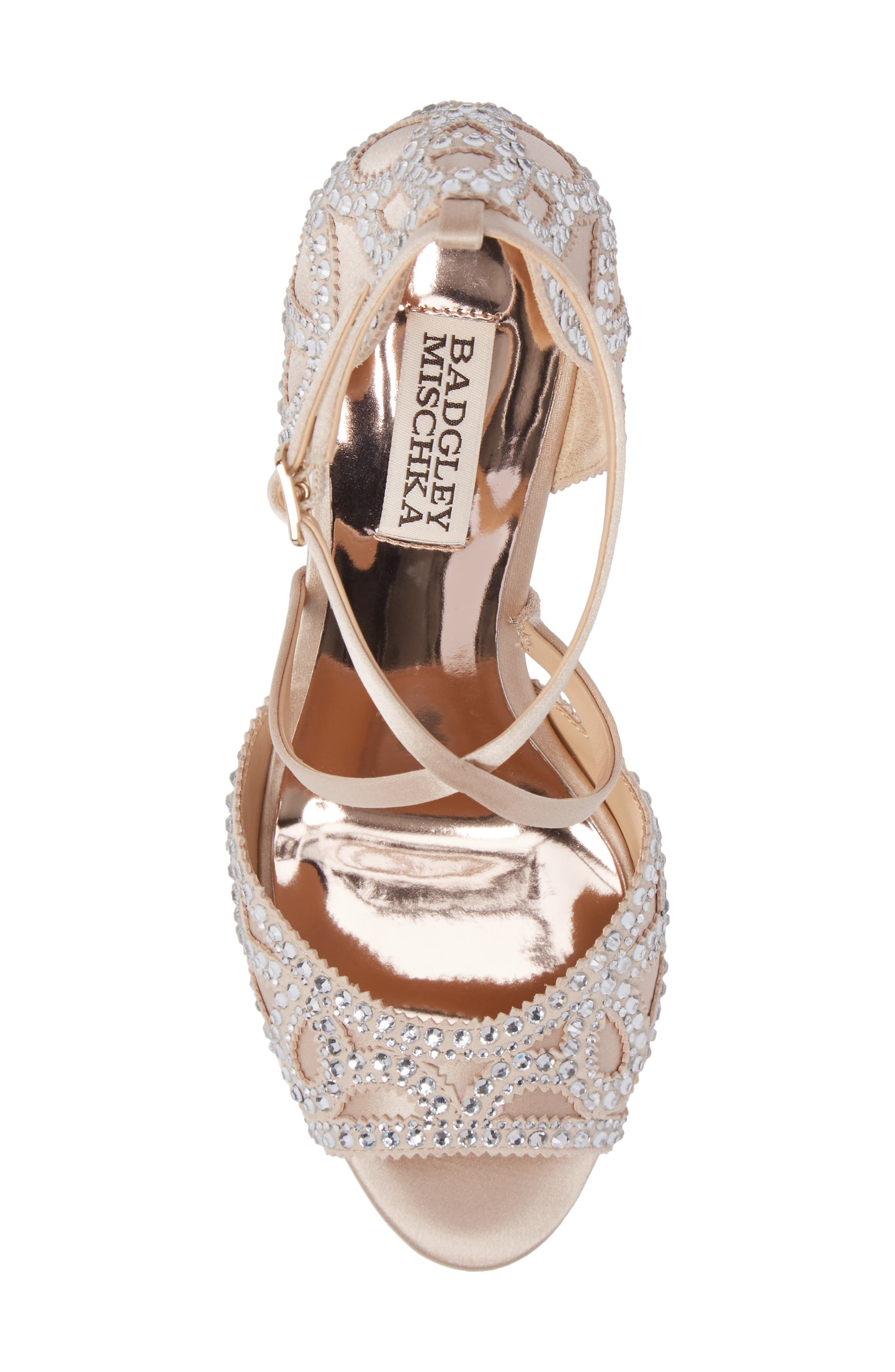 Winter Strappy Wedge Pump,                             Alternate thumbnail 5, color,                             Nude Satin