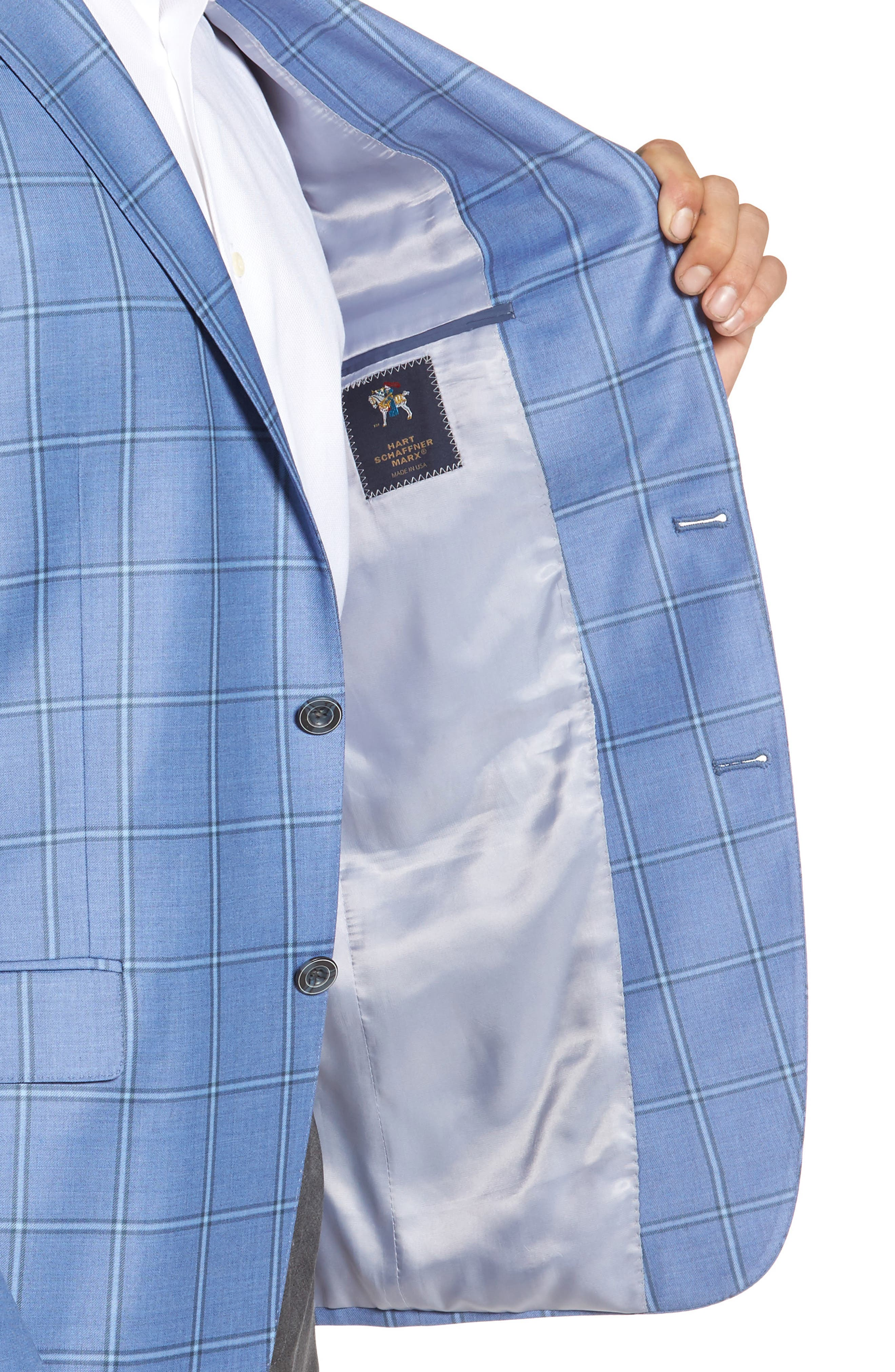 Classic Fit Windowpane Wool Sport Coat,                             Alternate thumbnail 4, color,                             Light Blue