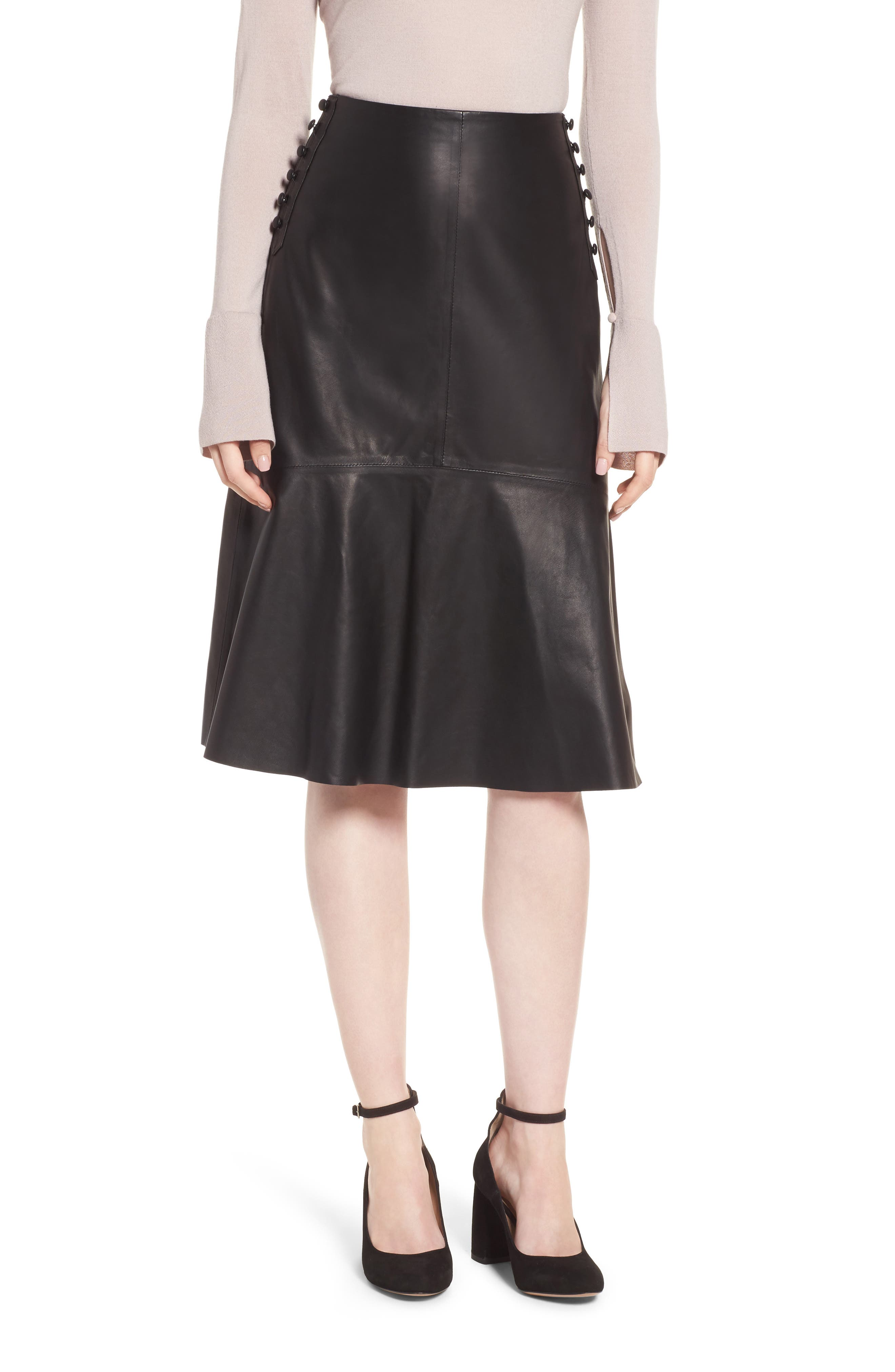 Button Detail A-Line Leather Skirt,                         Main,                         color, Black