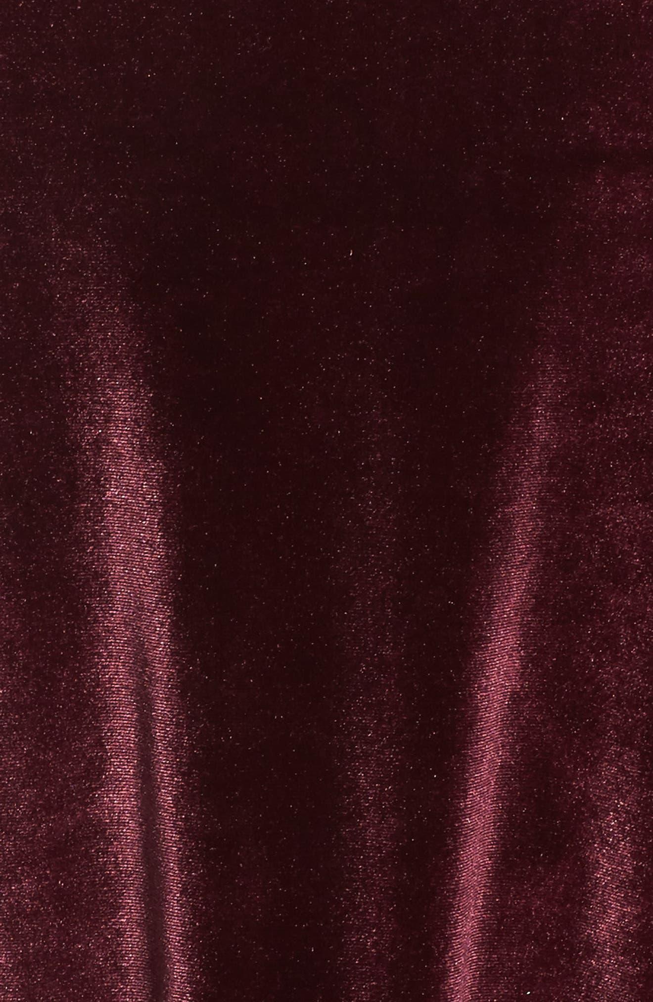 Cowl Neck Velour Top,                             Alternate thumbnail 5, color,                             Burgundy Stem