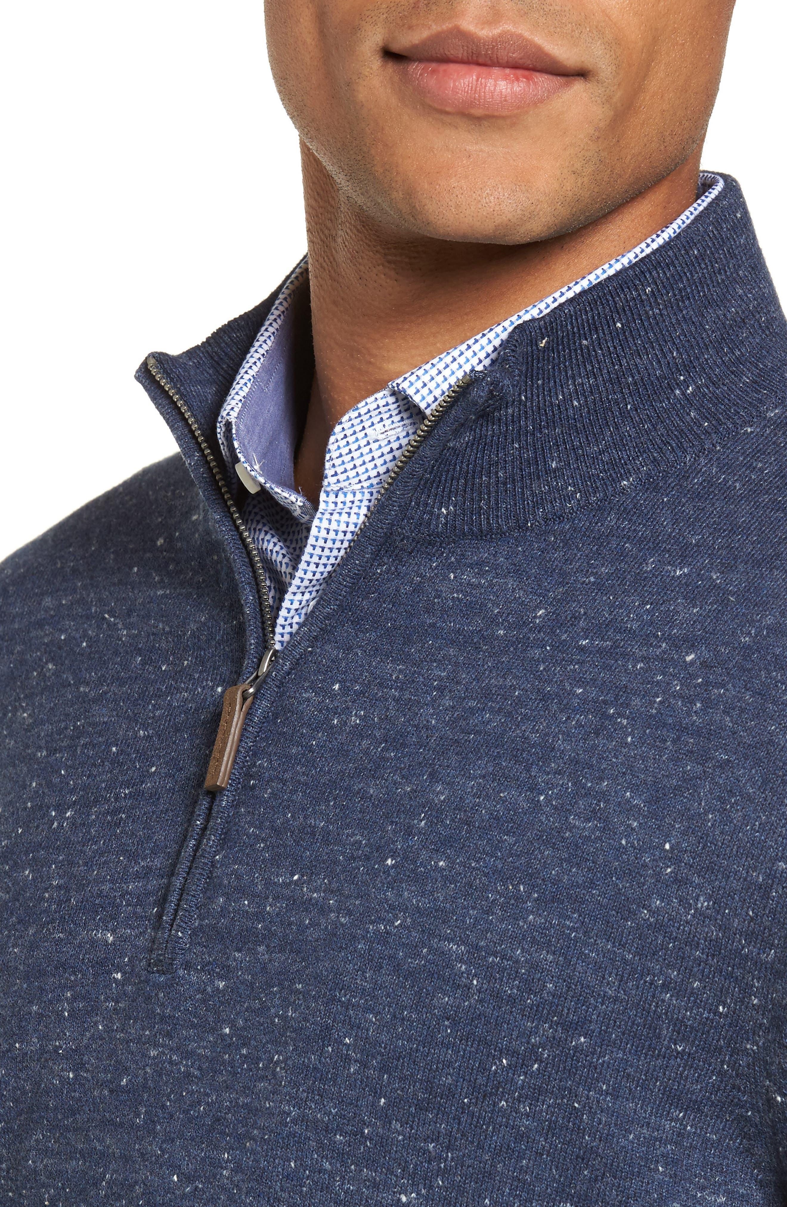 Quarter Zip Sweater,                             Alternate thumbnail 4, color,                             Blue Twilight Marl