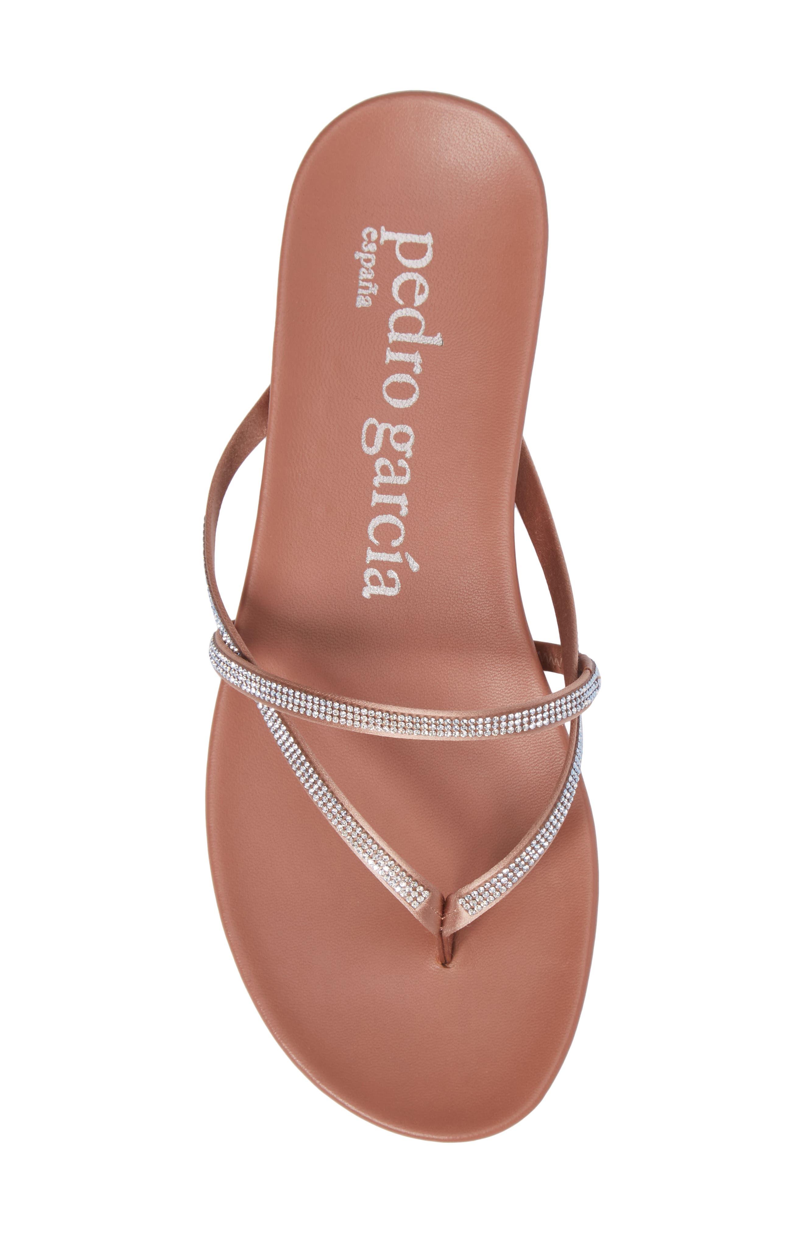 Giulia Crystal Embellished Sandal,                             Alternate thumbnail 5, color,                             Bisque Satin